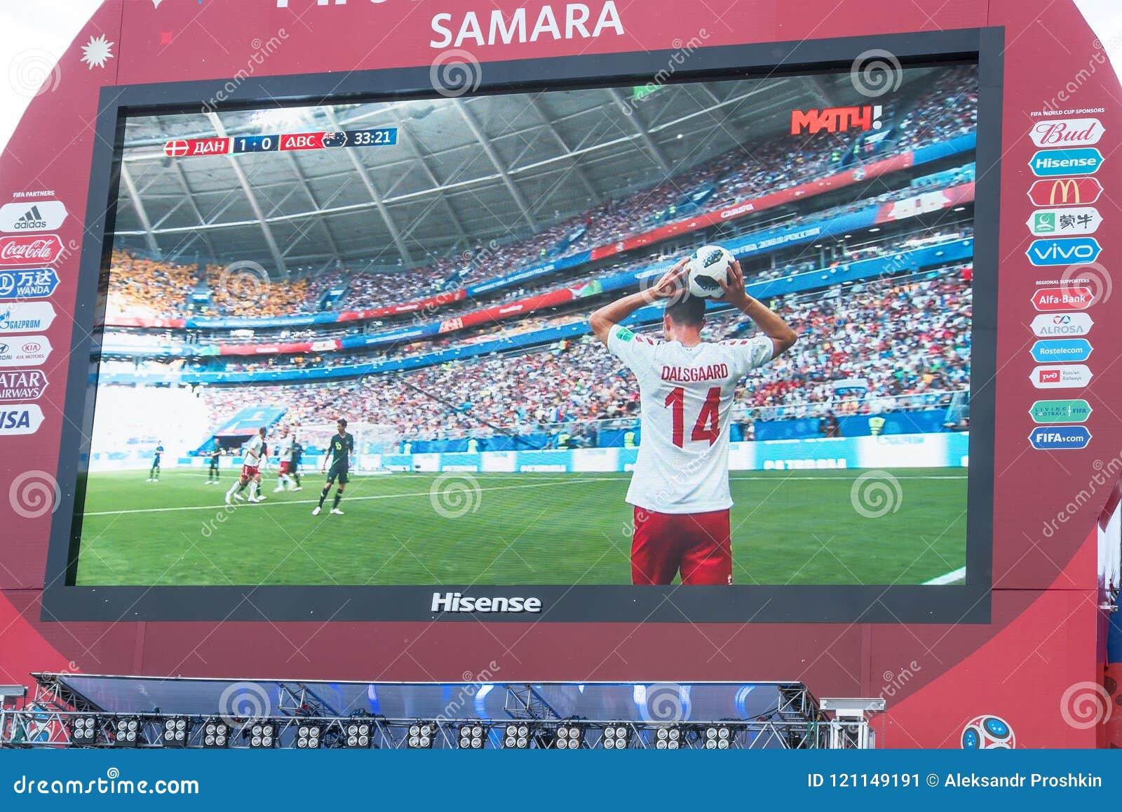 Transmisja zapałczany Australia na ekranie w fan strefie puchar świata 2018