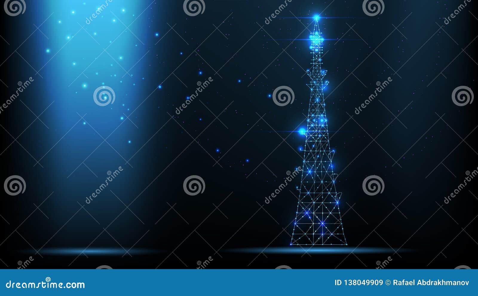 Transmisor abstracto de la señal de las telecomunicaciones del wireframe del vector, torre de antena de radio de líneas y triángu