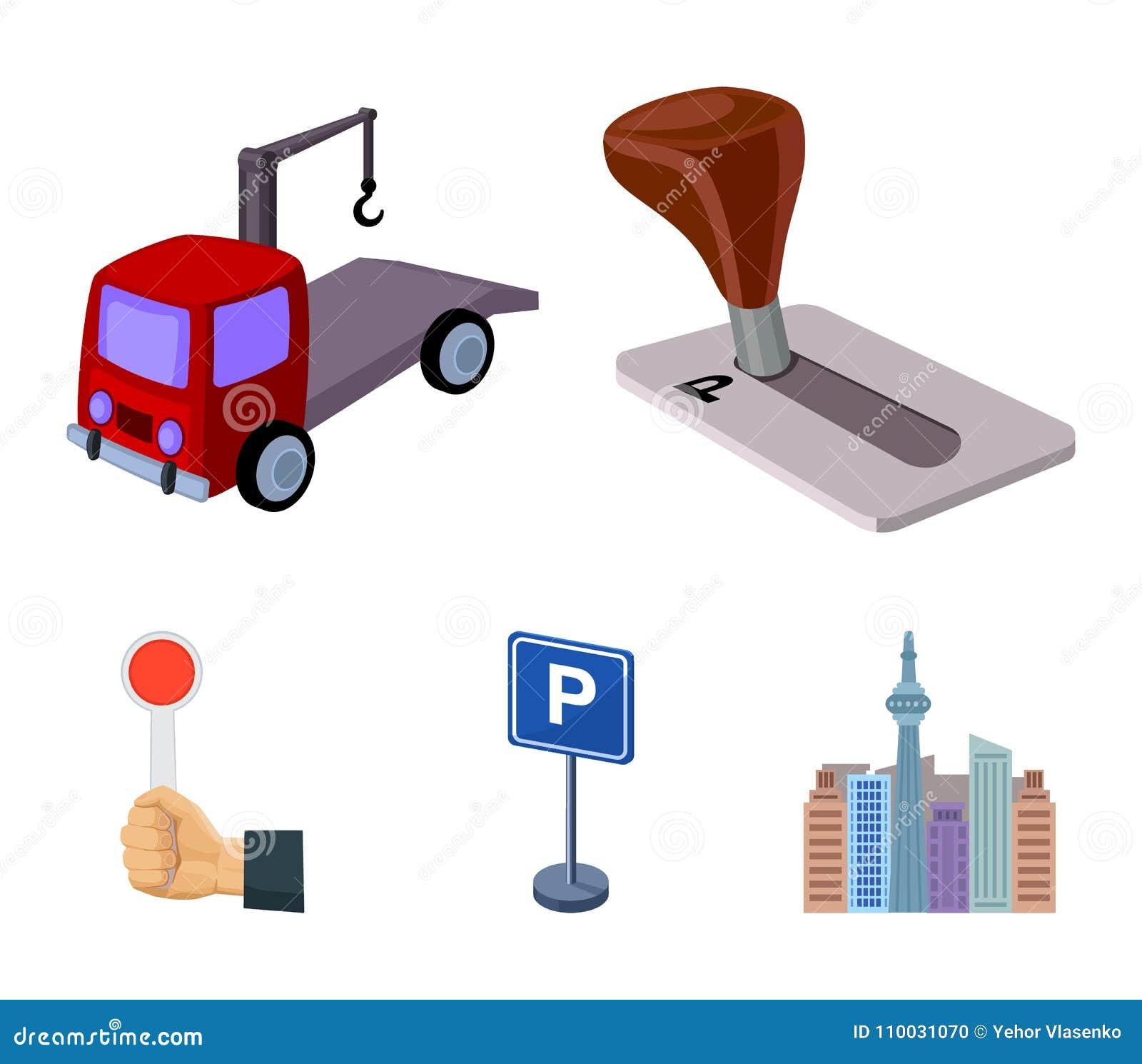 Transmissiehandvat, slepenvrachtwagen, het parkeren teken, eindesignaal Vastgestelde de inzamelingspictogrammen van de parkerenst