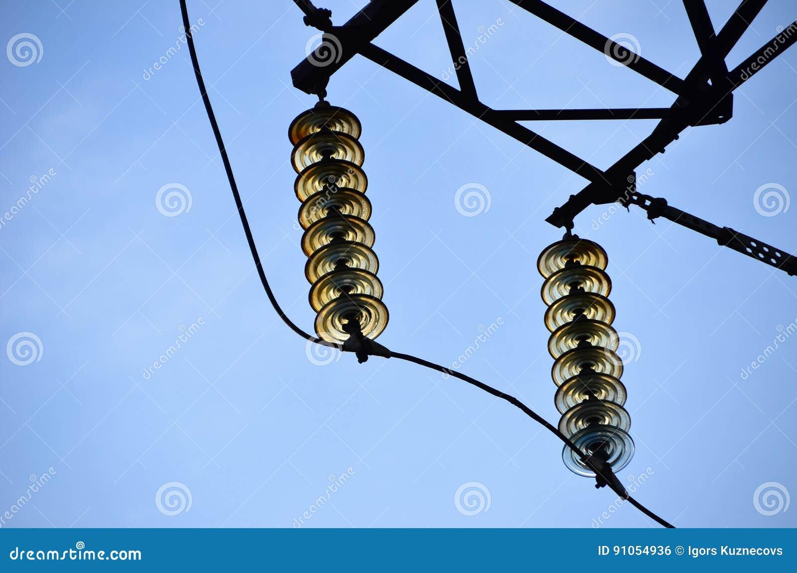 Transmission Line Insulators Stock Photo Image Of Transformer Transmission 91054936