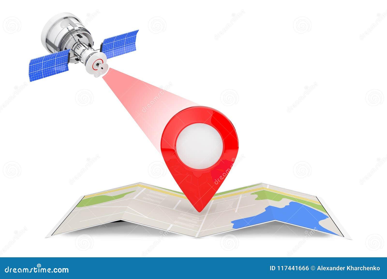 Transmission par satellite moderne à la carte abstraite pliée W de navigation