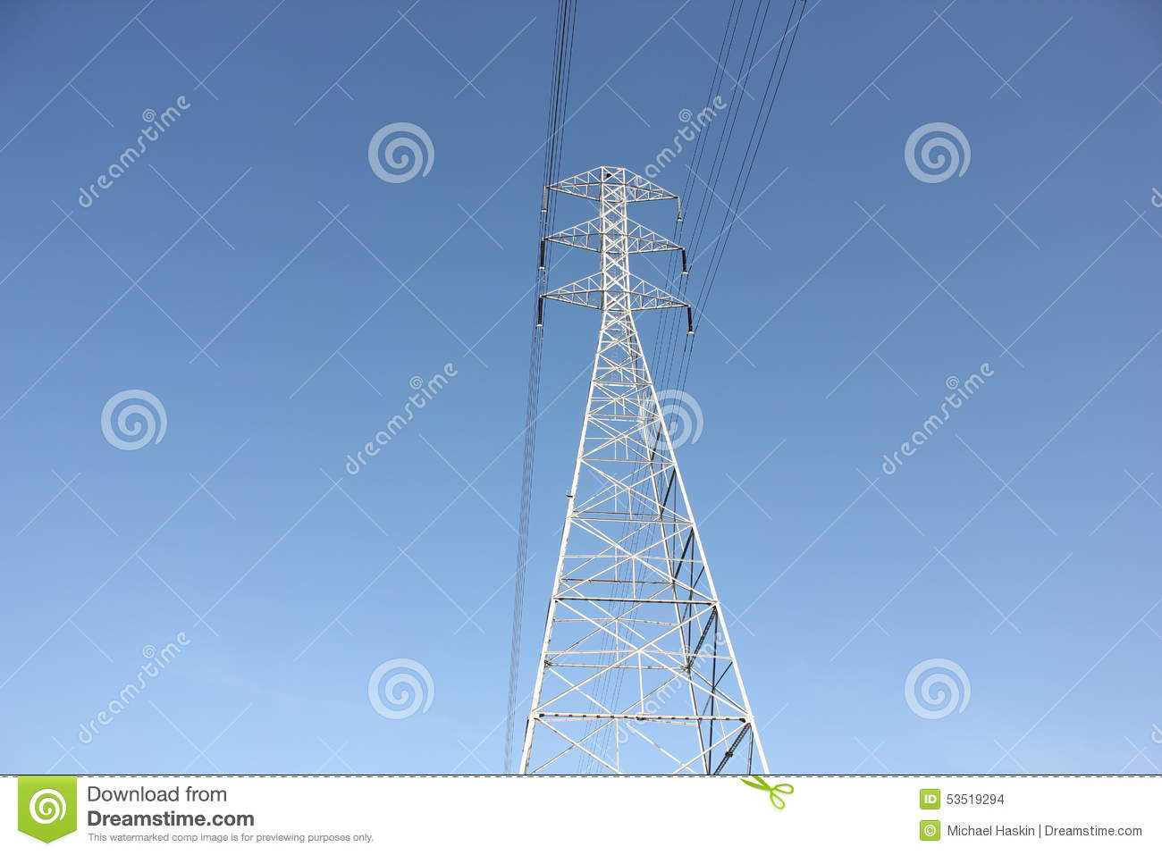 Transmission tower with blue sky