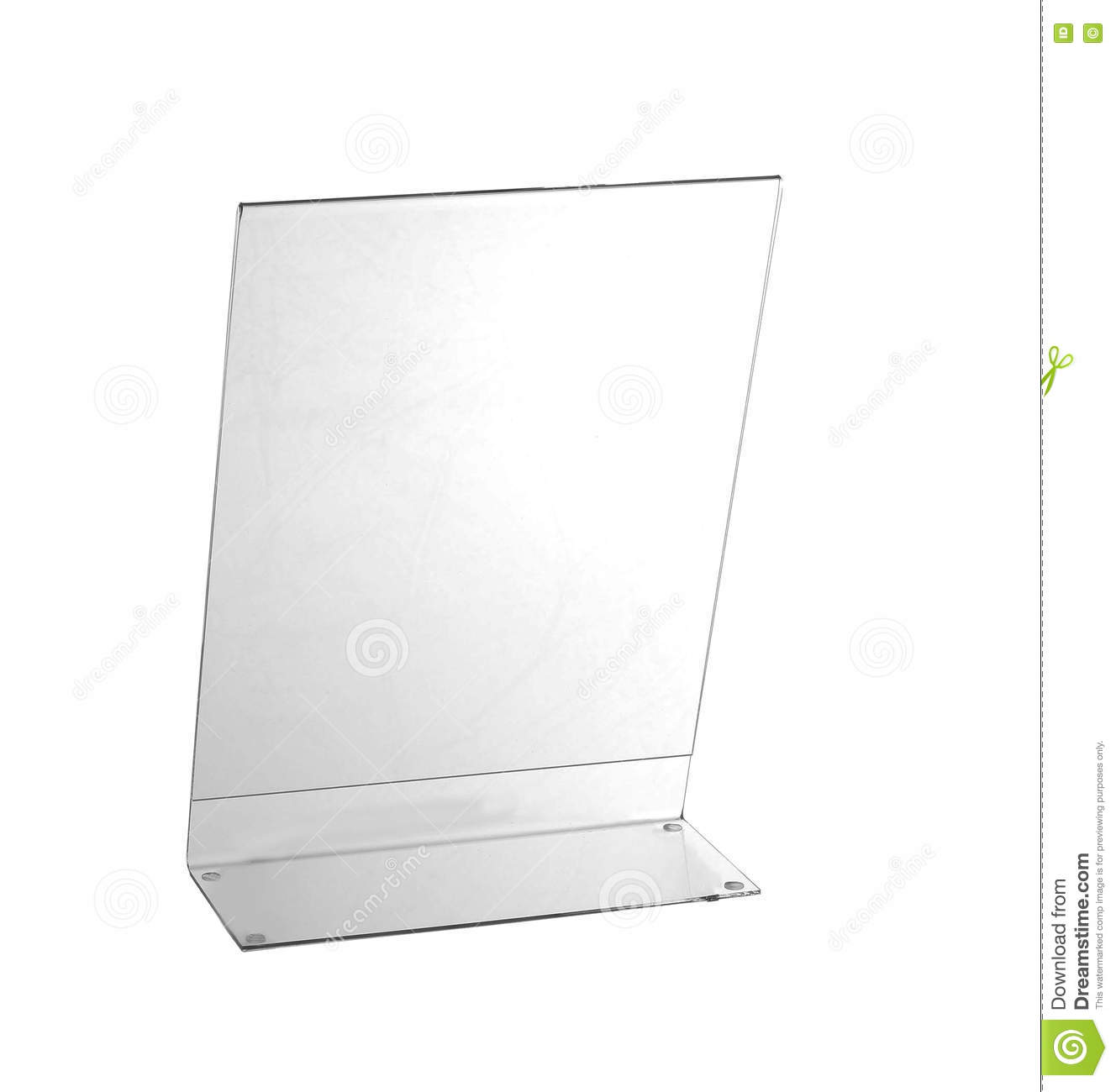 Transparent Acrylic Table Stand Display For Menu Isolated