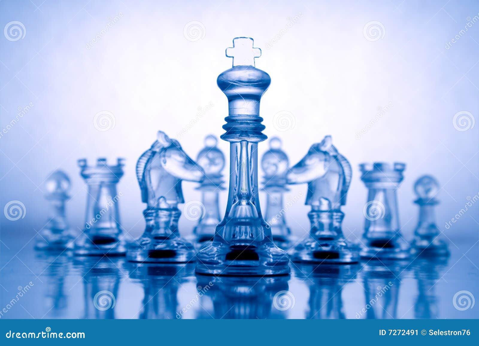 Transparent blue chess