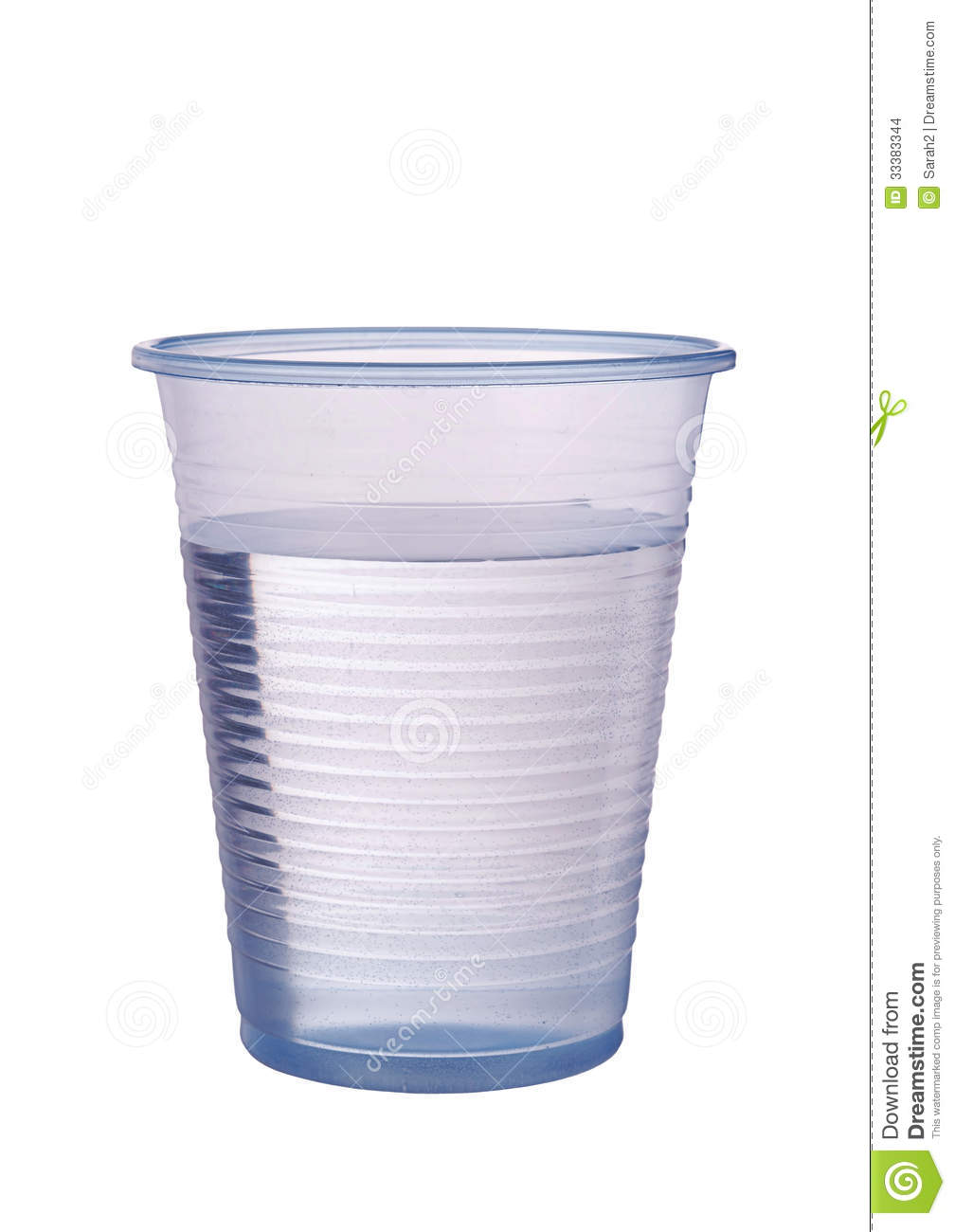 Transparent Blue Plastic Cup Of Water Isolated Over White Stock