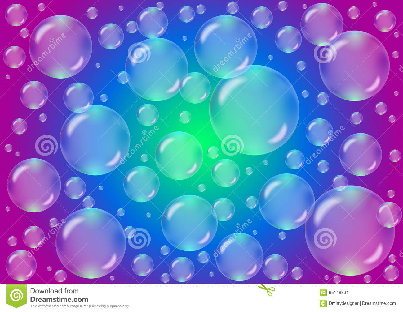 transparent bubbles on a colored background stock vector
