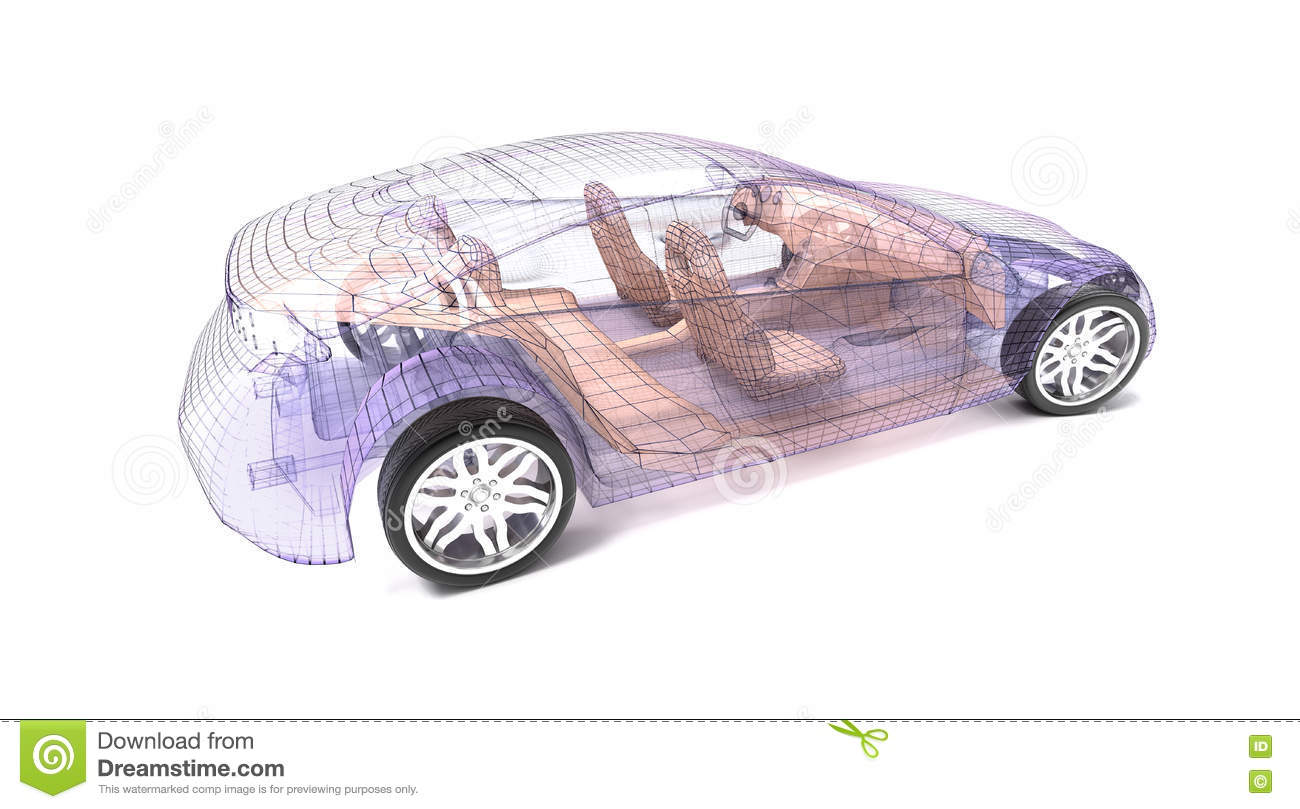 Transparent car design, wire model. 3D illustration