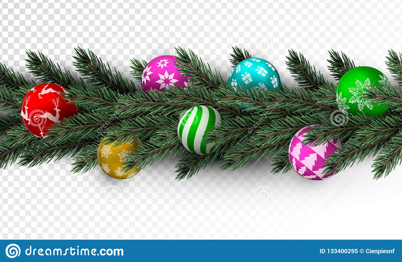 Transparent Christmas Garland With Colorful Bauble Stock Vector