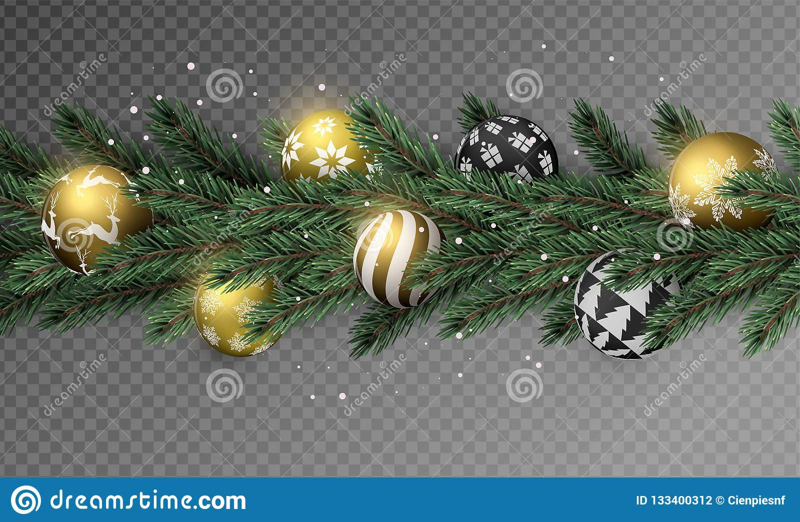 Transparent Christmas Garland With Gold Ornaments Stock Vector