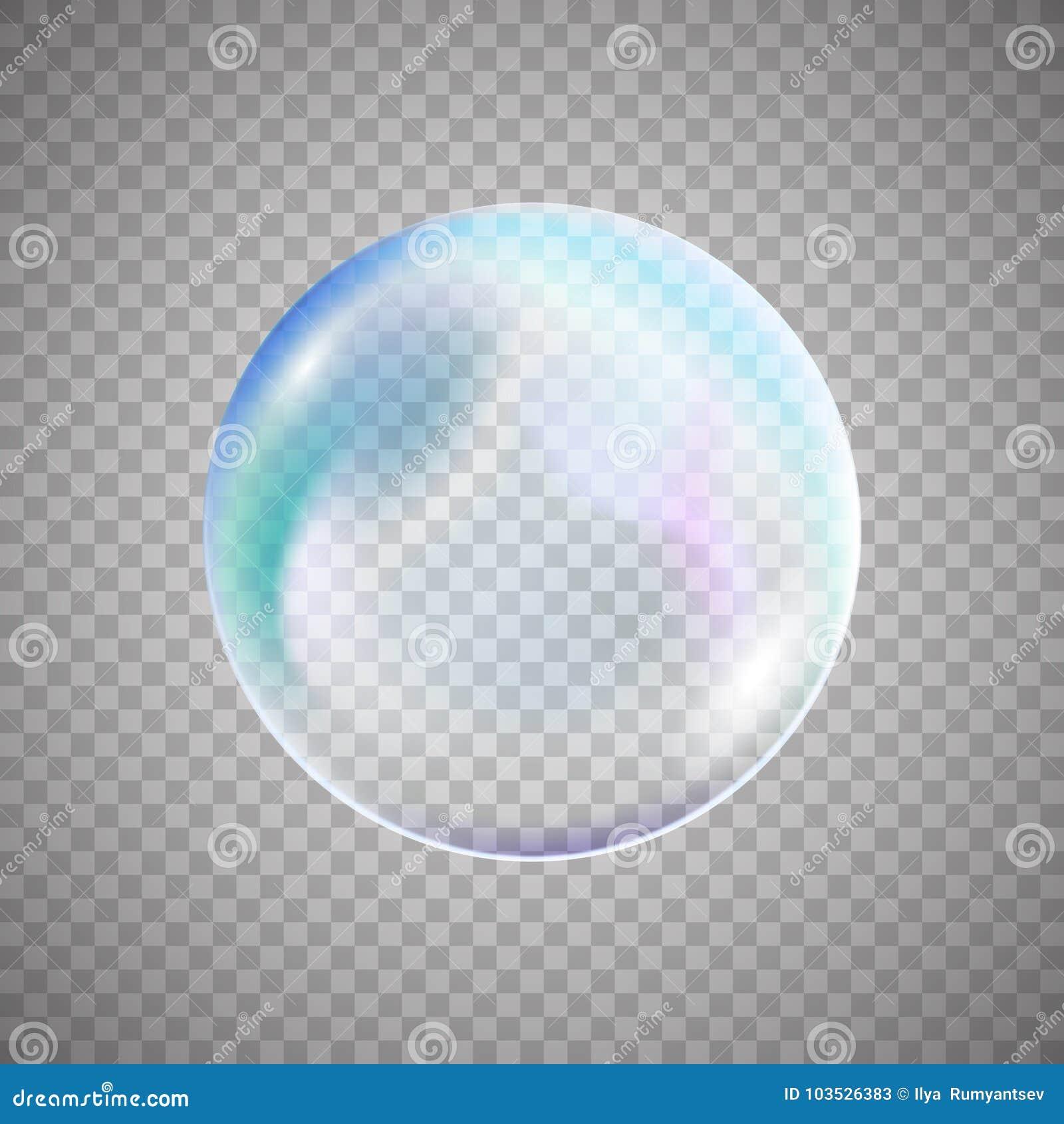 Transparent colorful soap bubble on simple background