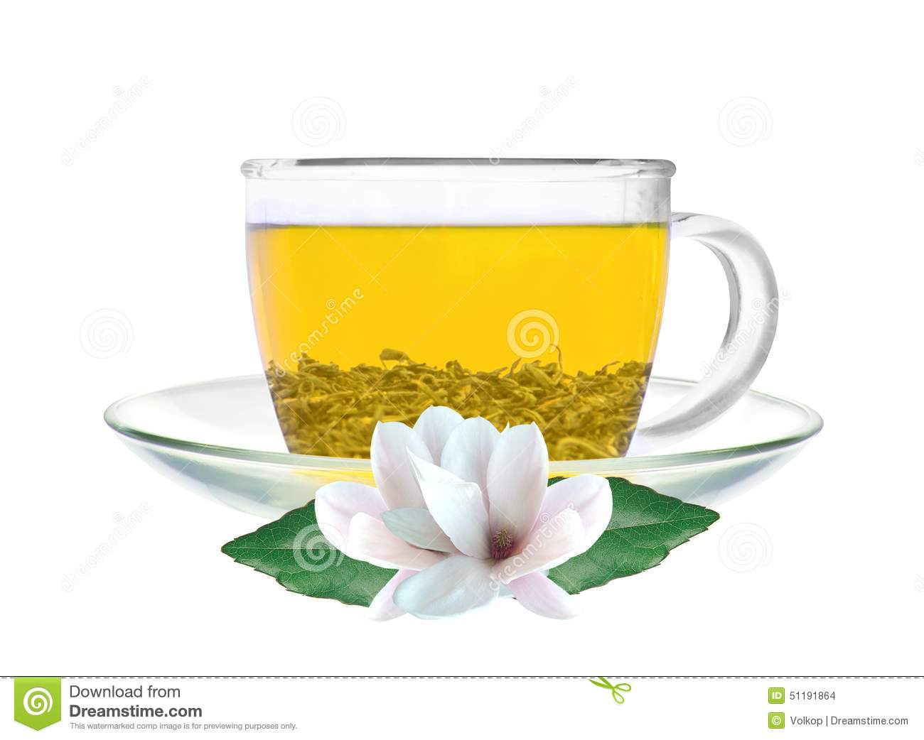 Transparent Cup Of Green Tea And Jasmine Flowers Isolated Stock