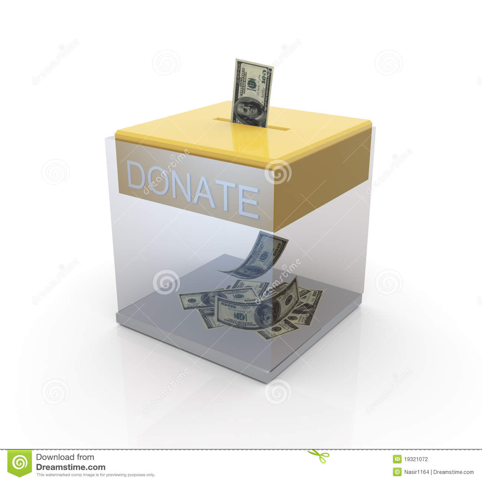 Transparent donation box stock illustration. Image of ...