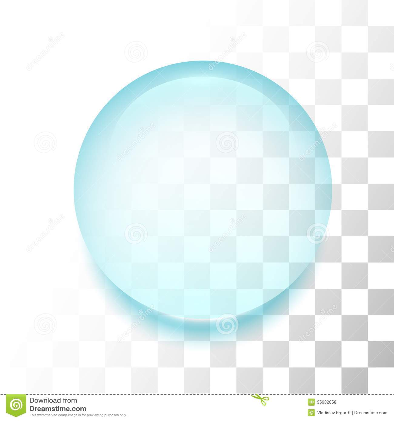 transparent drop with shadow and reflection stock vector