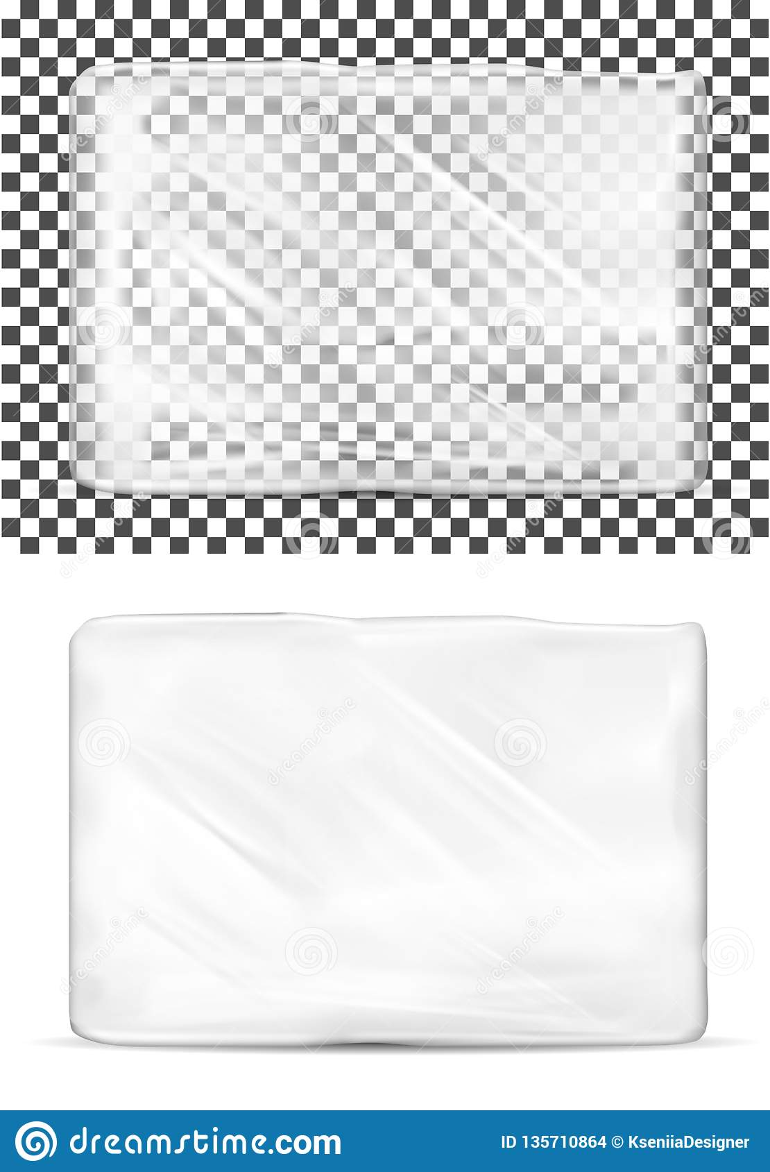 Transparent empty plastic packaging for toilet paper