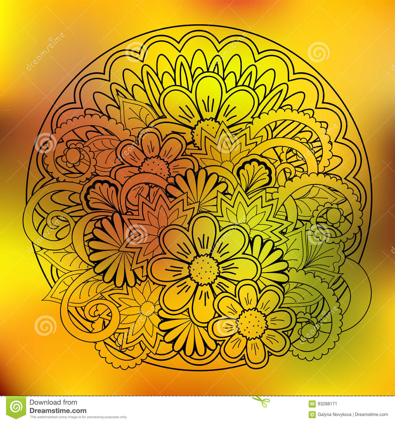 Transparent Floral Summer Composition With Mandala Yellow Gradie ...