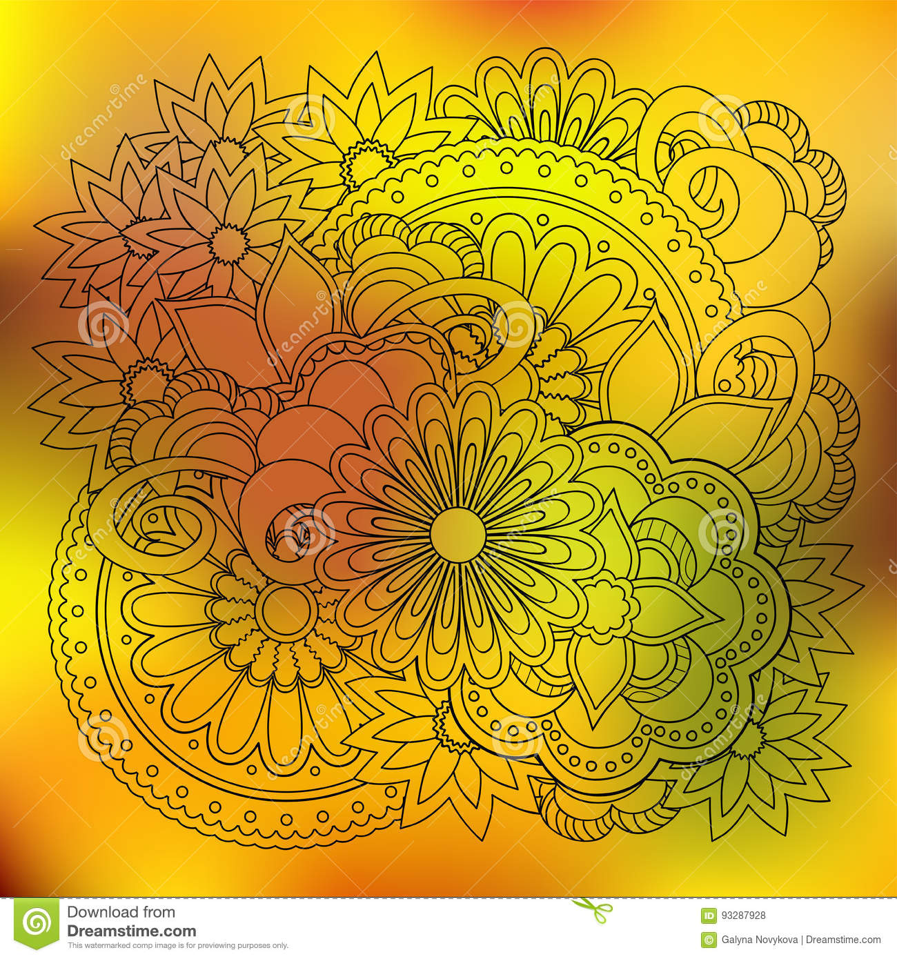 Transparent Floral Summer Composition With Mandalas Yellow Gradi ...
