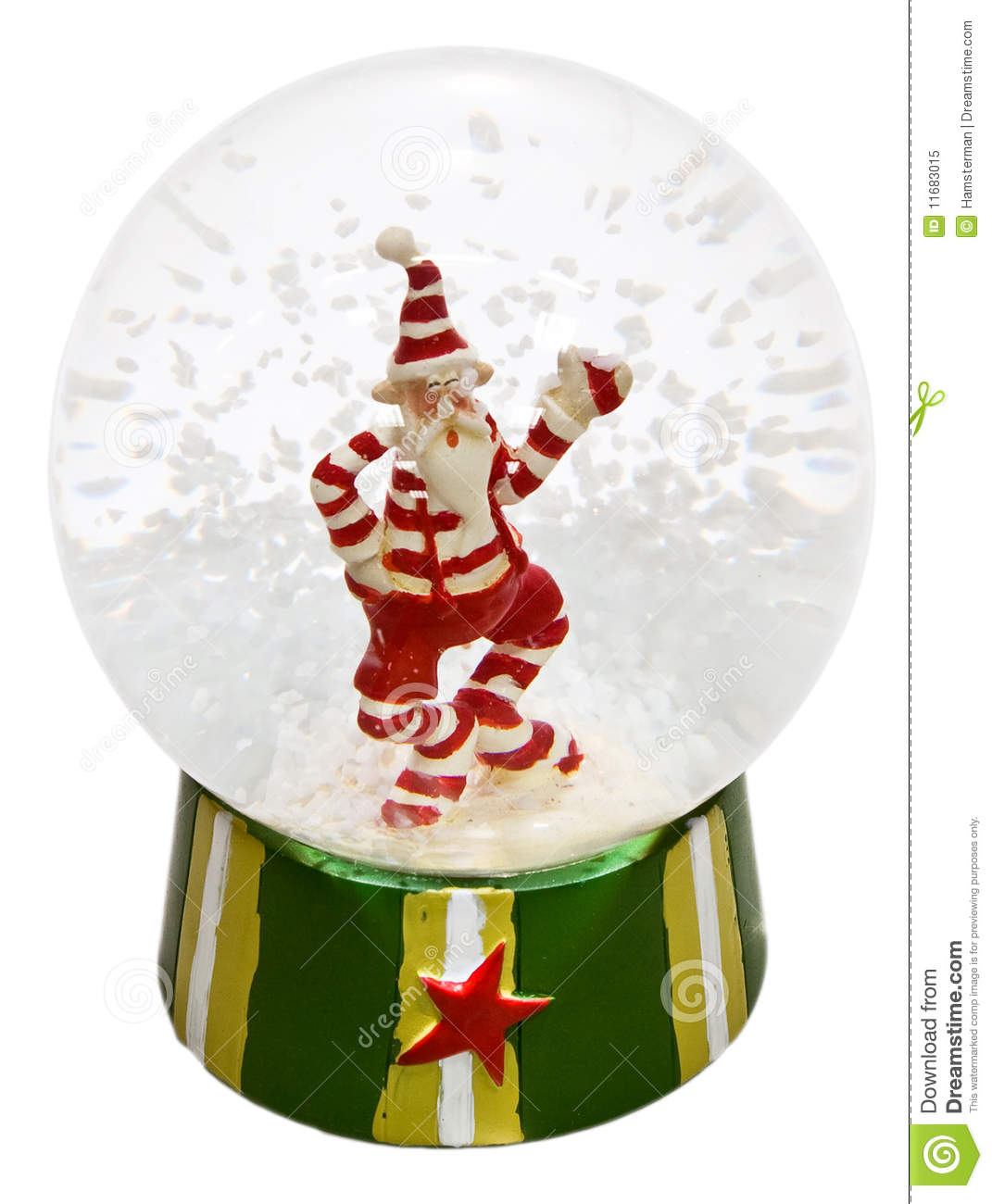 Transparent glass ball with Santa Claus and snow