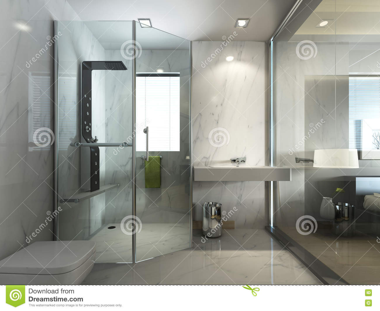 Transparent glass bathroom with shower and wc stock illustration