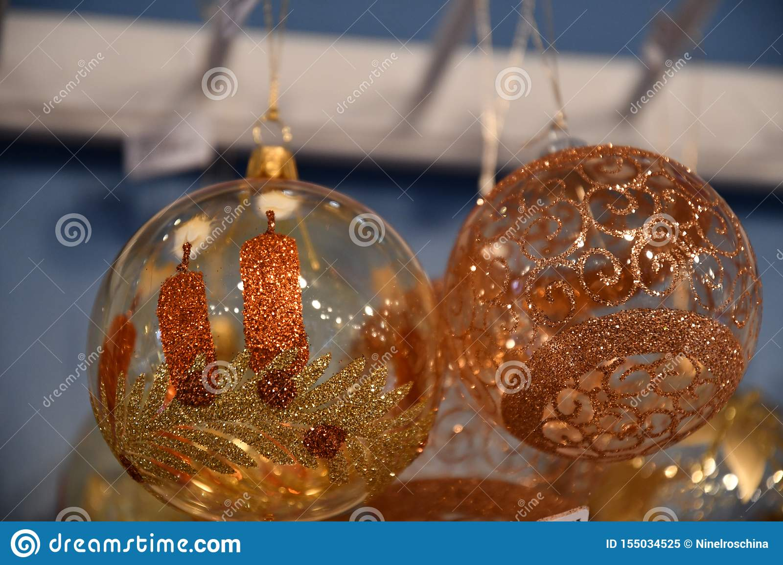 Fairytale Christmas Decorations.Transparent Glass Bulbs With Golden Frosty Pattern And Hand