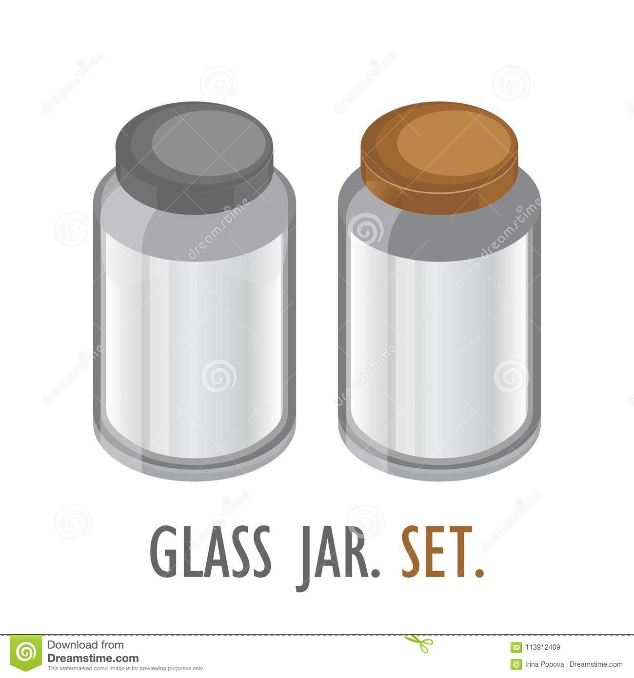 transparent glass jar set realistic empty banks stock vector