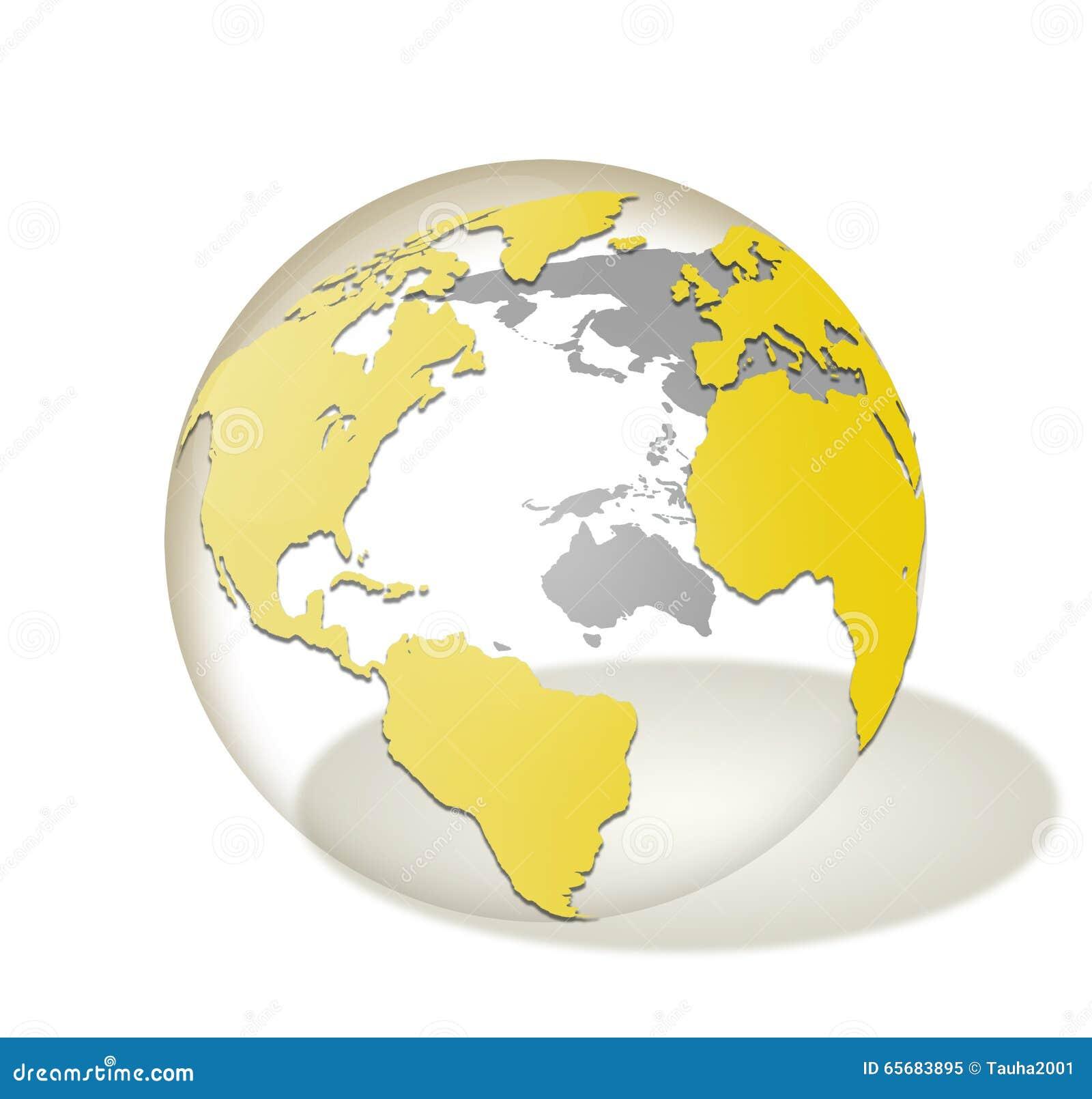 transparent glass world globe isolated stock image image
