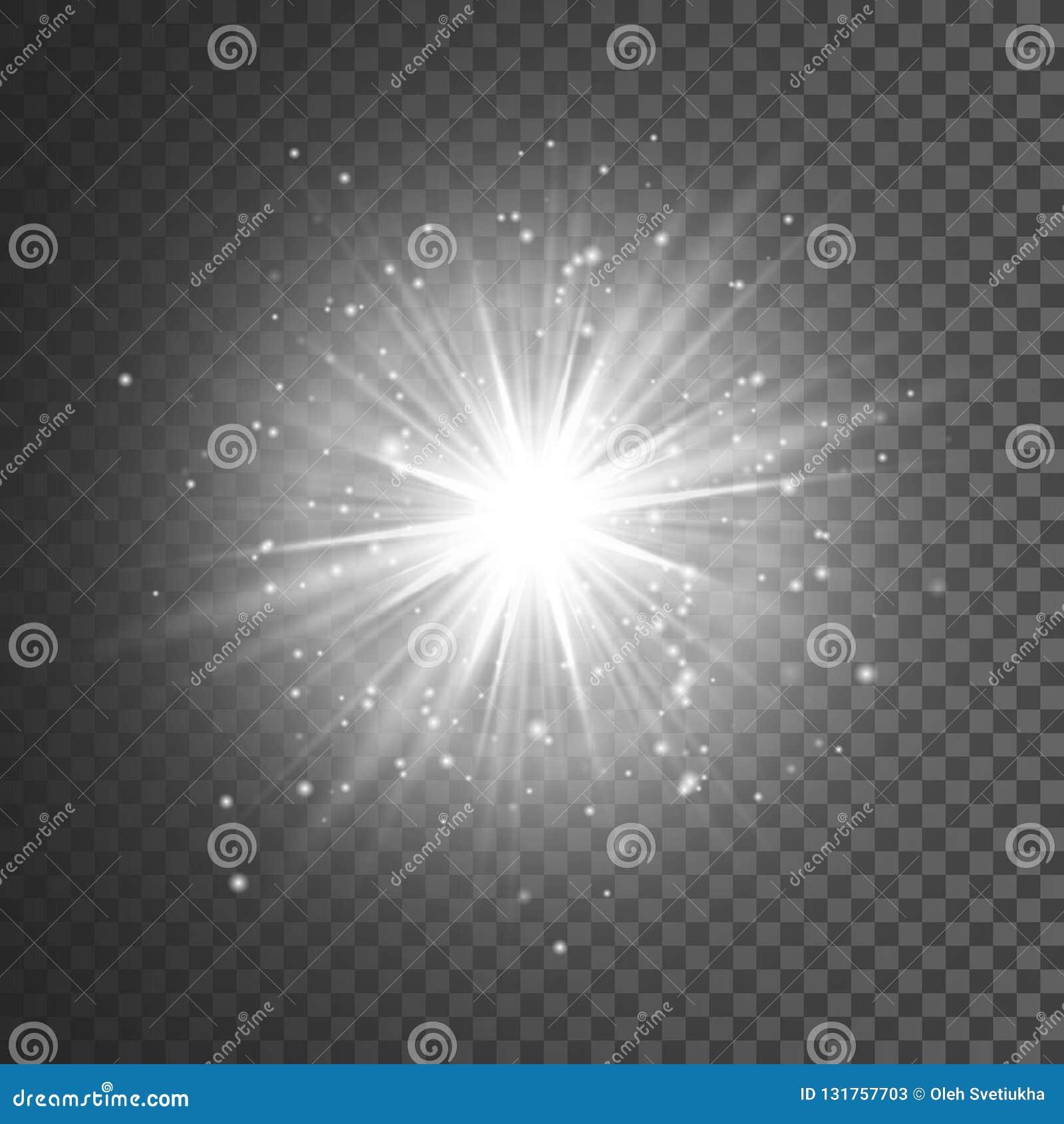 Transparent glow light effect. Star burst with sparkles. White glitter. Vector illustration