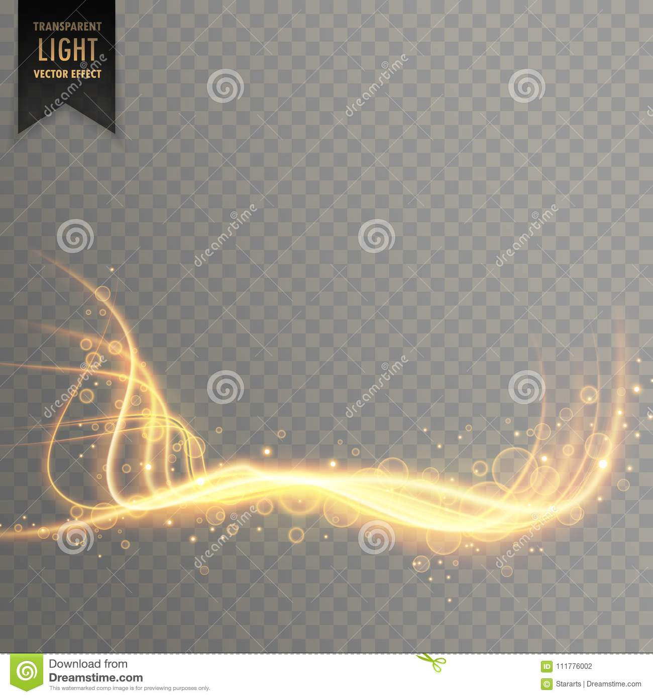 Transparent gold light lines with sparkles