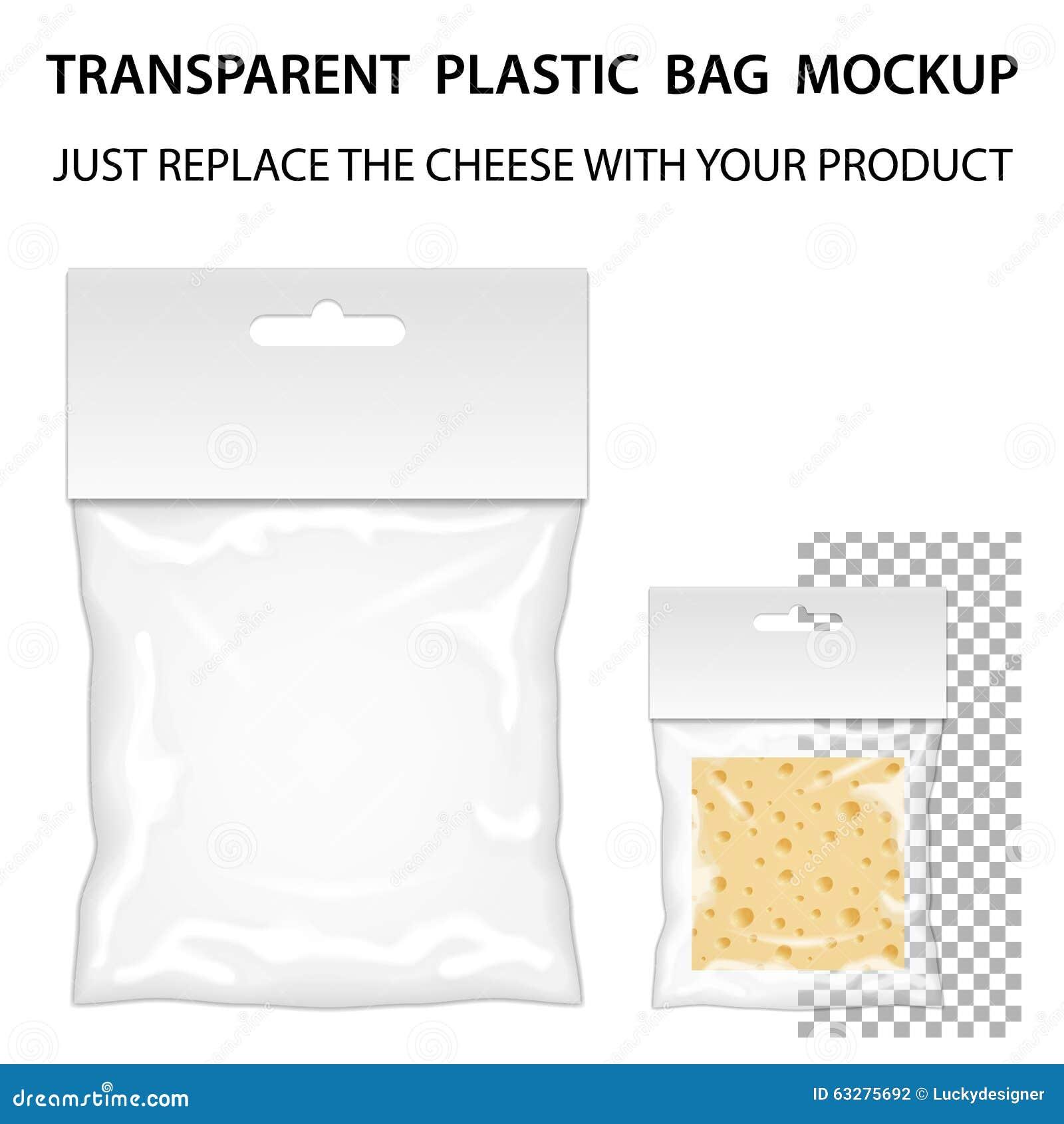 7ce47125d8c94 Transparent Plastic Bag Mockup Ready For Your Design. Blank Pack ...