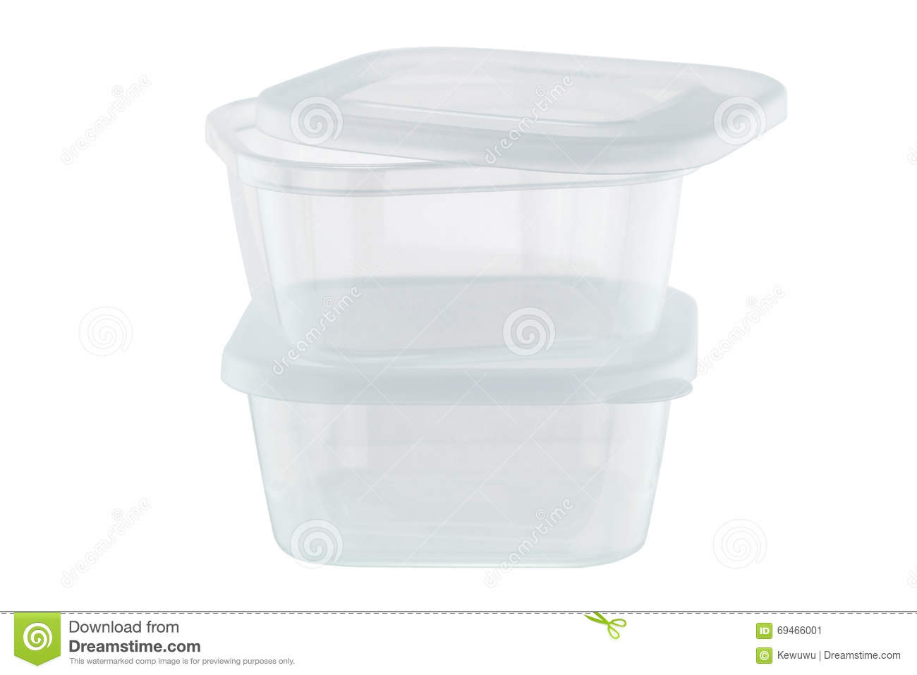 Gentil Transparent Plastic Food Storage Containers Isolated On White Ba
