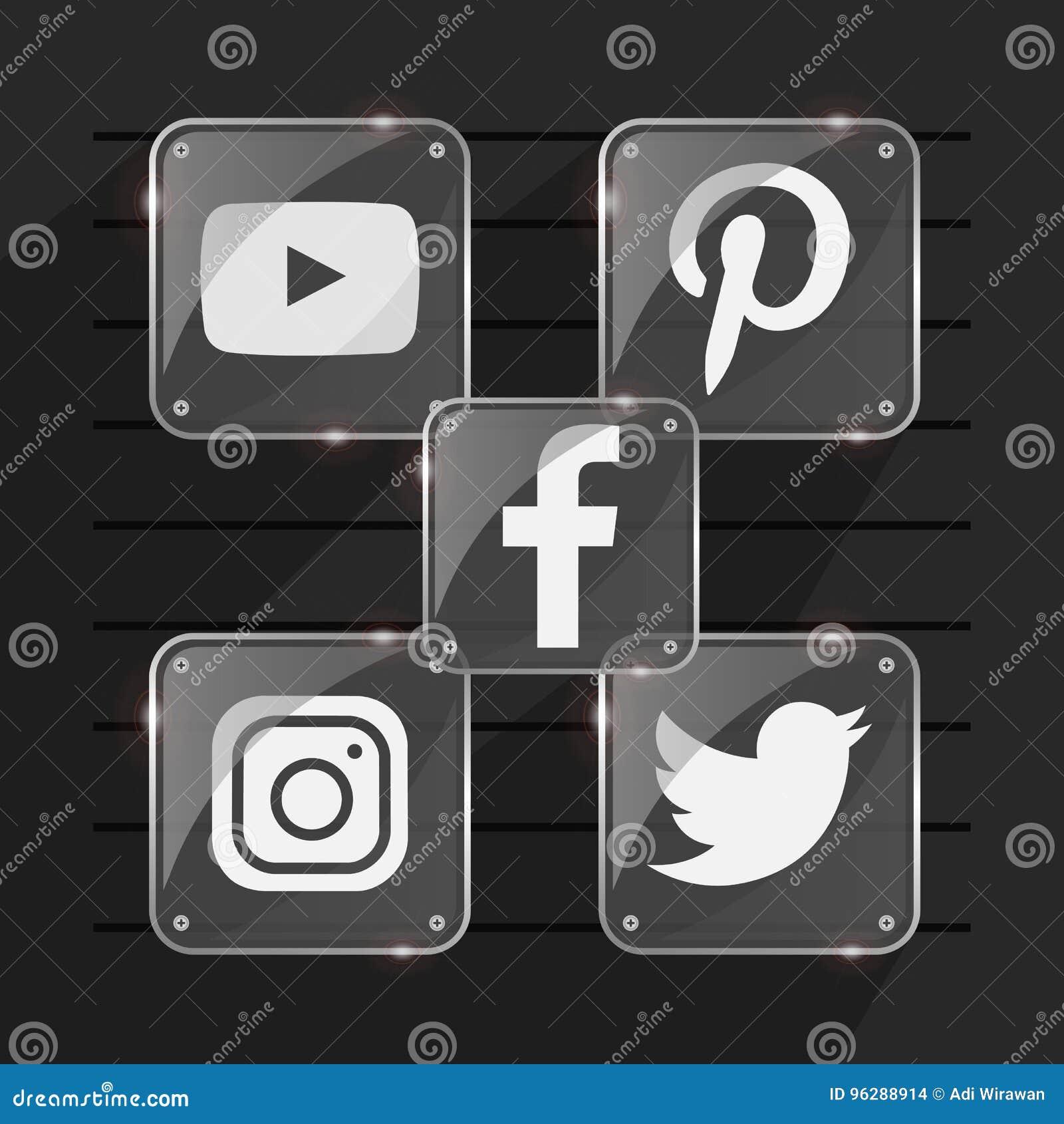 Transparent Popular Social Media Shiny Logo Facebook Twitter