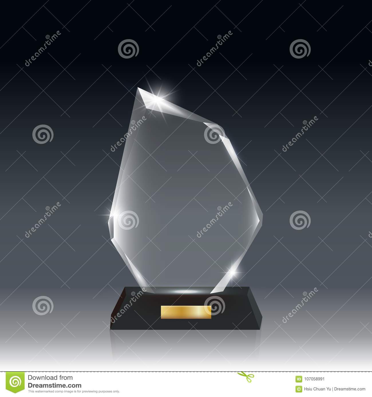 Transparent Realistic Blank Vector Acrylic Glass Trophy