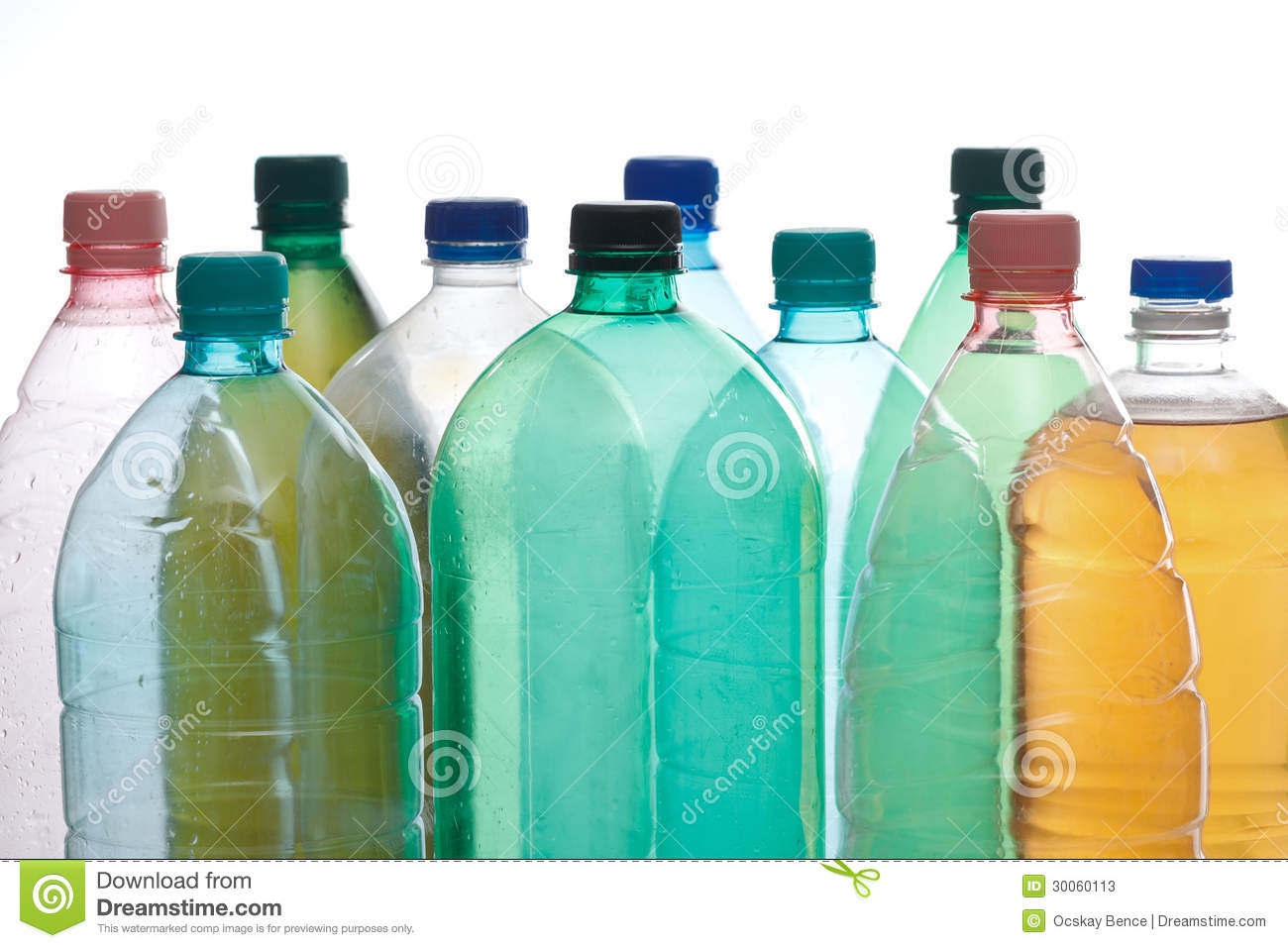 Plastic Bottles In Different Color Stock Image - Image of green ...