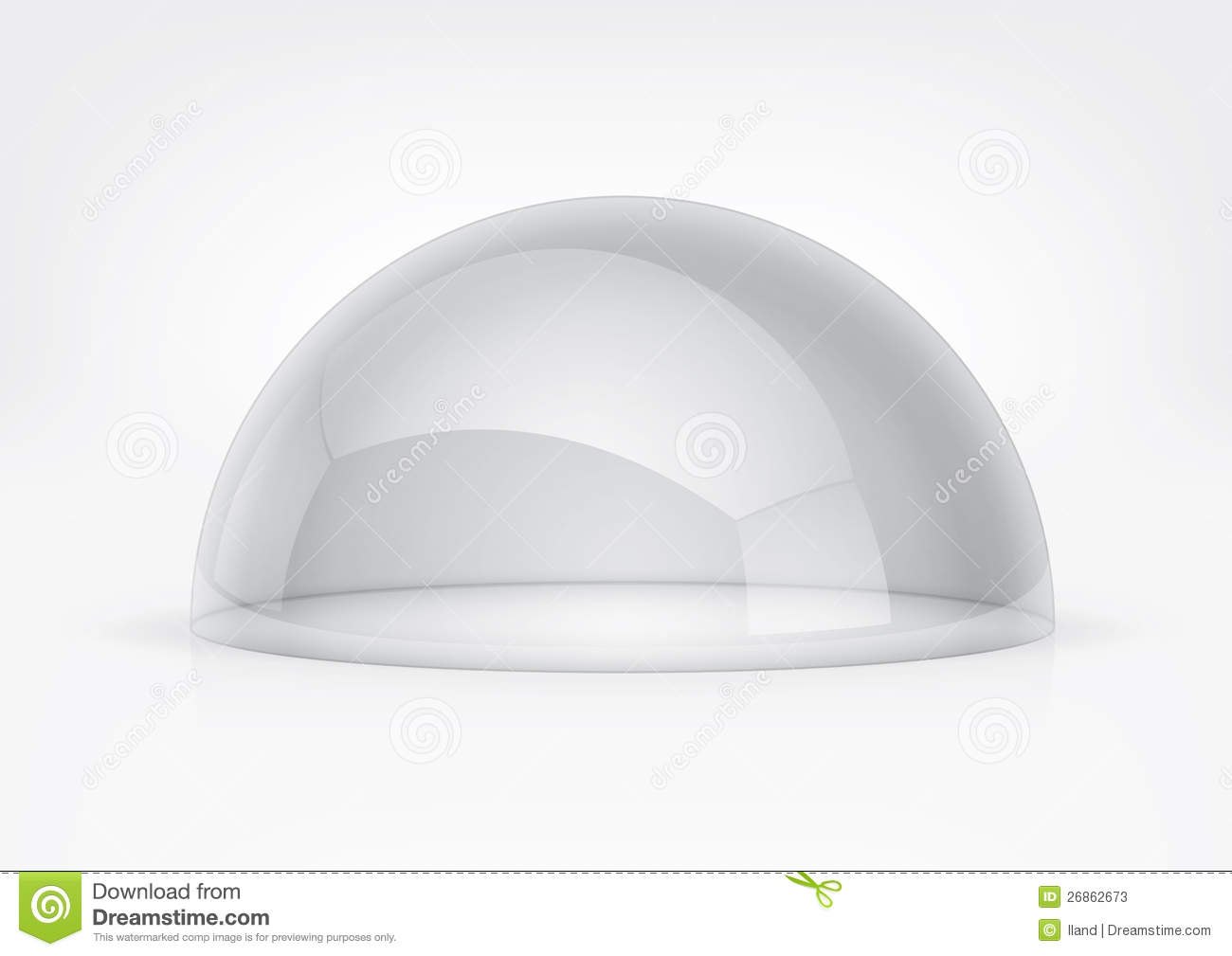 Transparent semi-sphere specks of light and reflections.