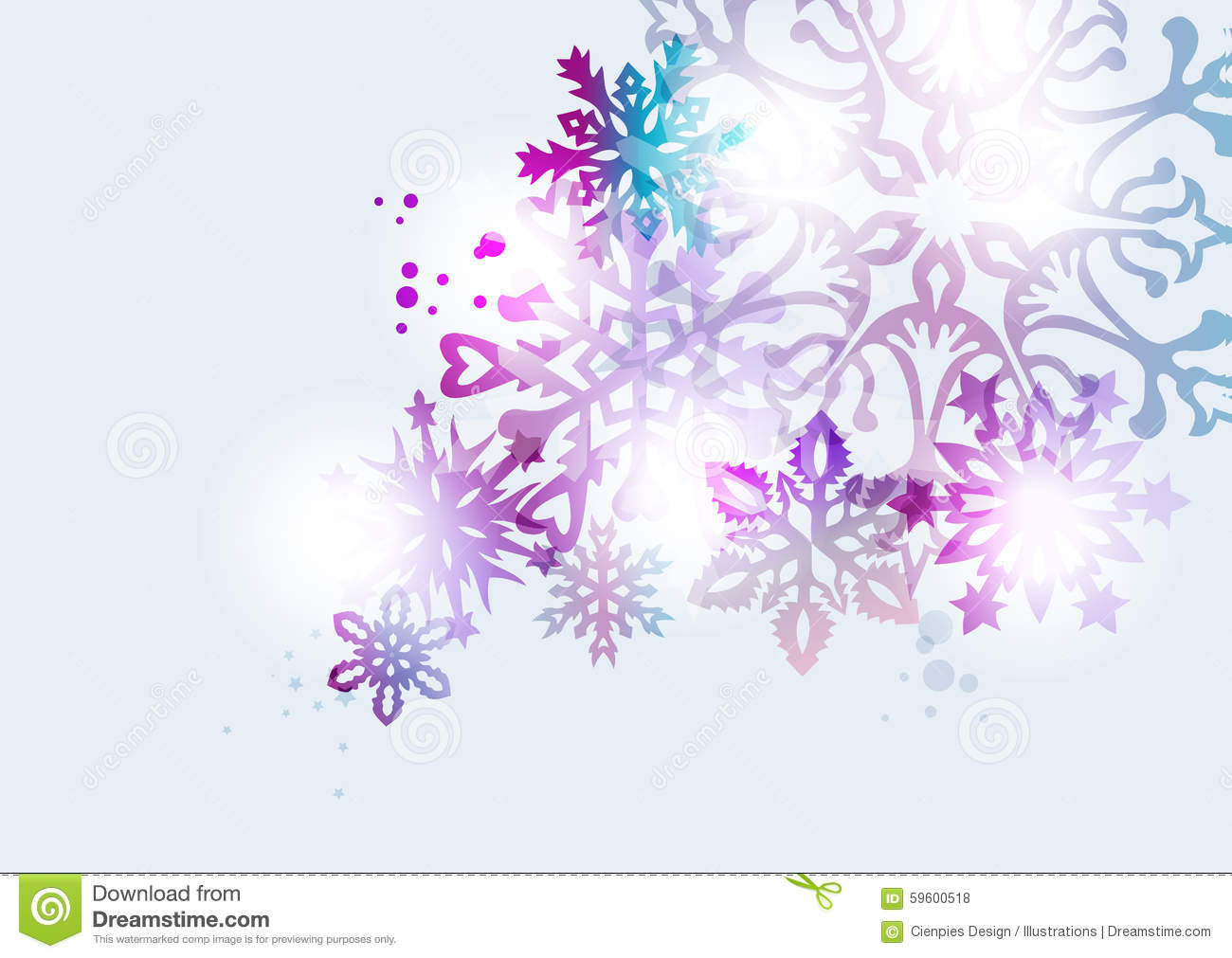 Transparent Snowflake Christmas Card Background Stock