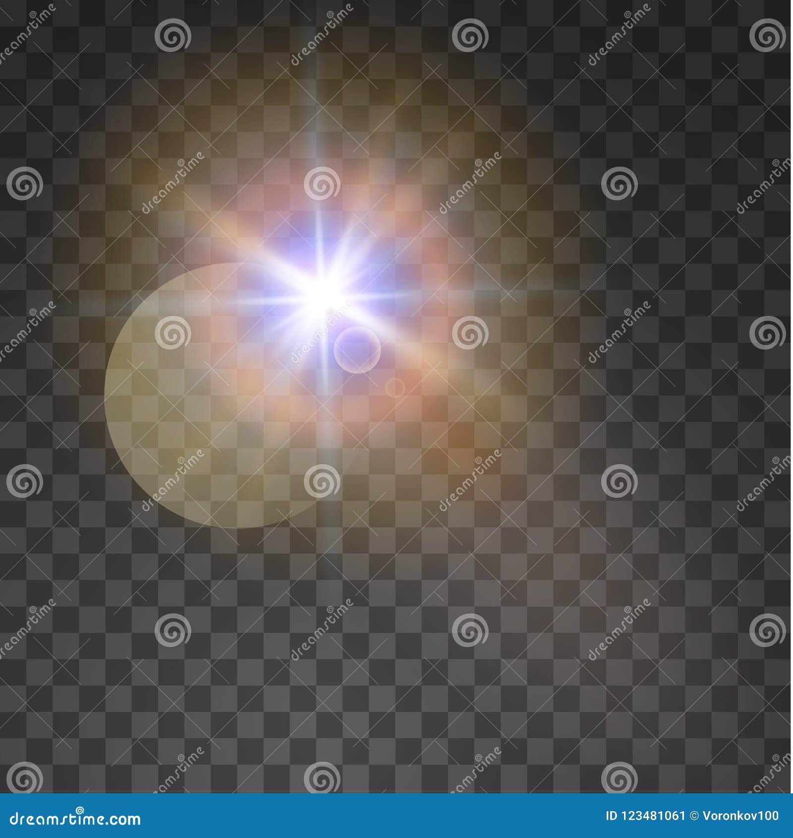 Transparent sunlight special lens flare. Vector illustration