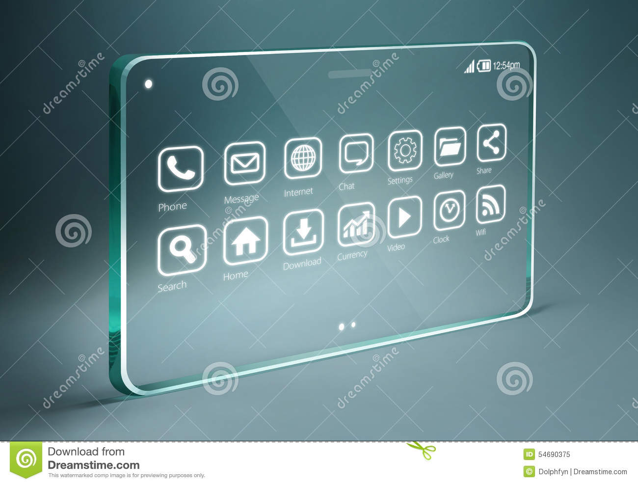 Transparent tablet with apps icons on bue background stock for Iconos transparentes