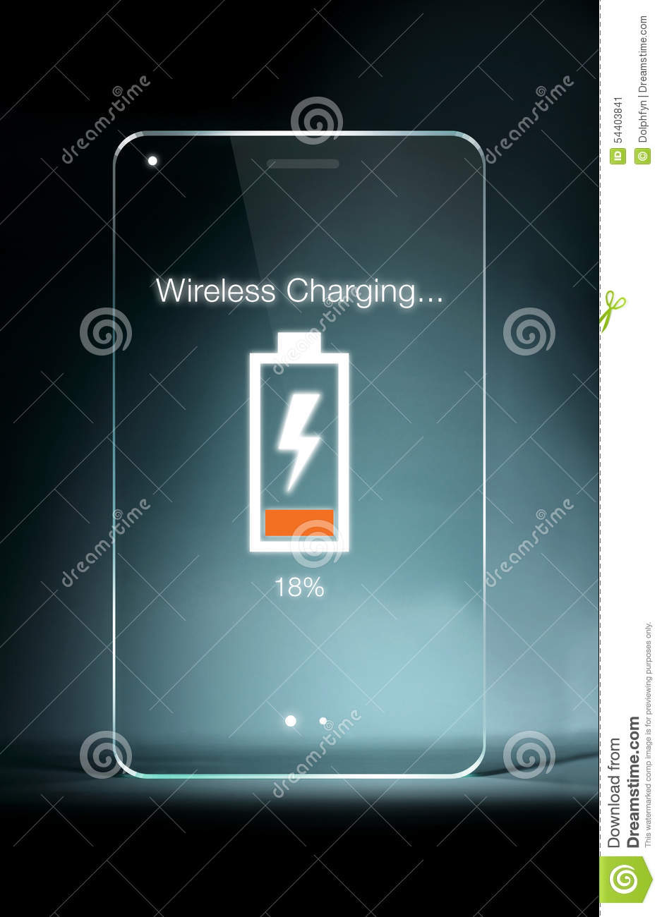 Transparent Tablet With Wireless Charging Icon On Blue