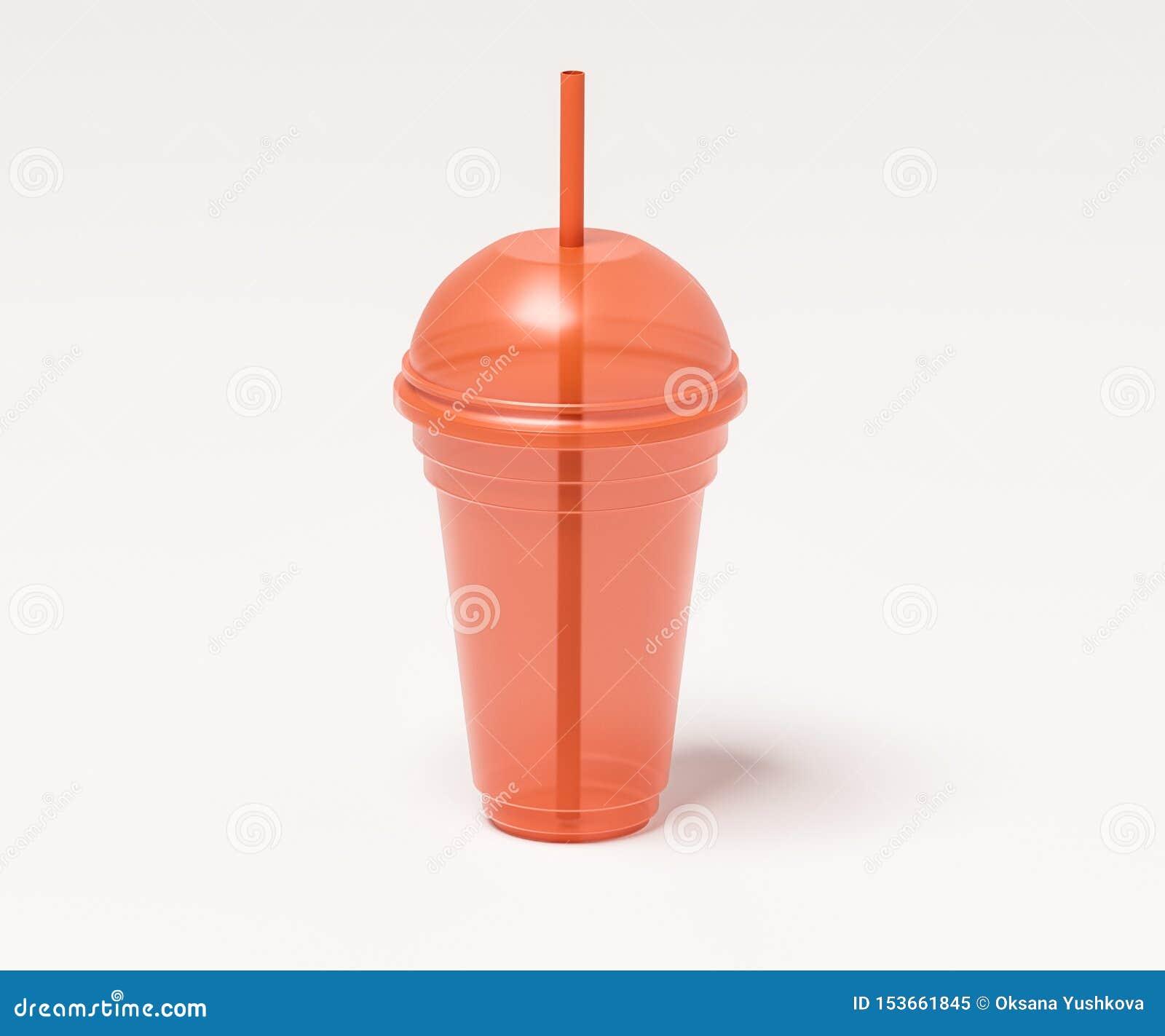Transparente Plastikschale für Getränke der orange Farbe mit einem Röhrchen