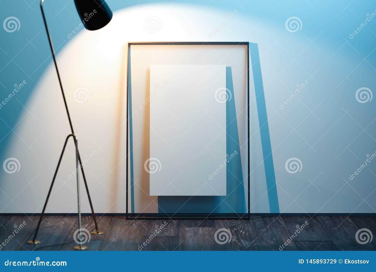 Transparenter Fotorahmen mit leerem Plakat nahe bei hellen W?nden, Wiedergabe 3d