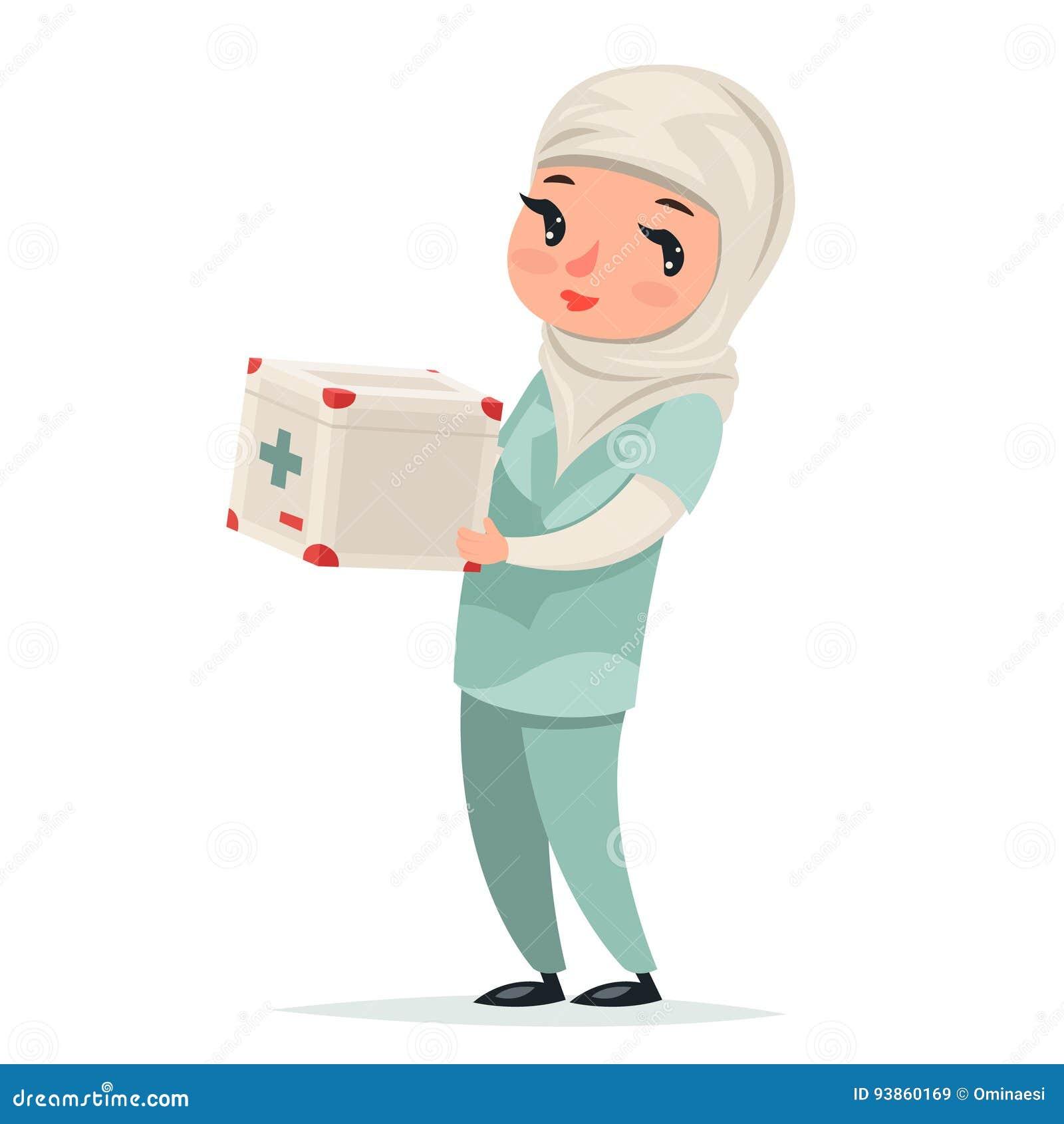 Transplantations-Chirurg-Krankenschwester-Female Girl Cute-arabischer Doktor mit Erste-Hilfe-Set-Medizin-Kasten-Kühlschrank-Verse