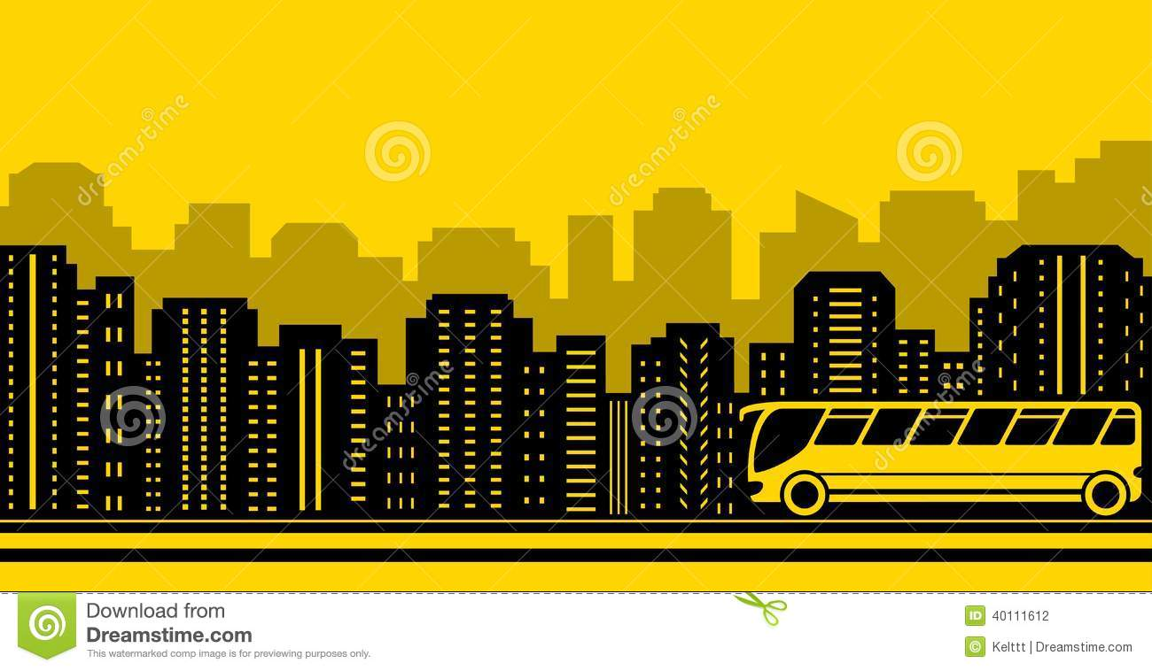 transport background with town and bus stock vector