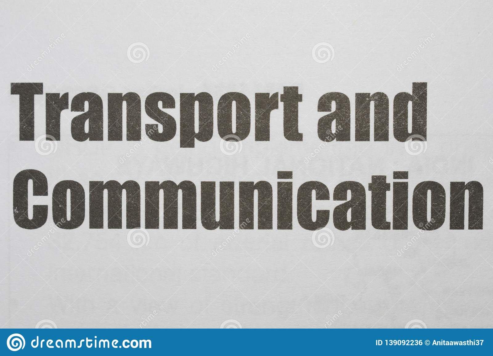 Transport and Communication Printed on a white background with black ink