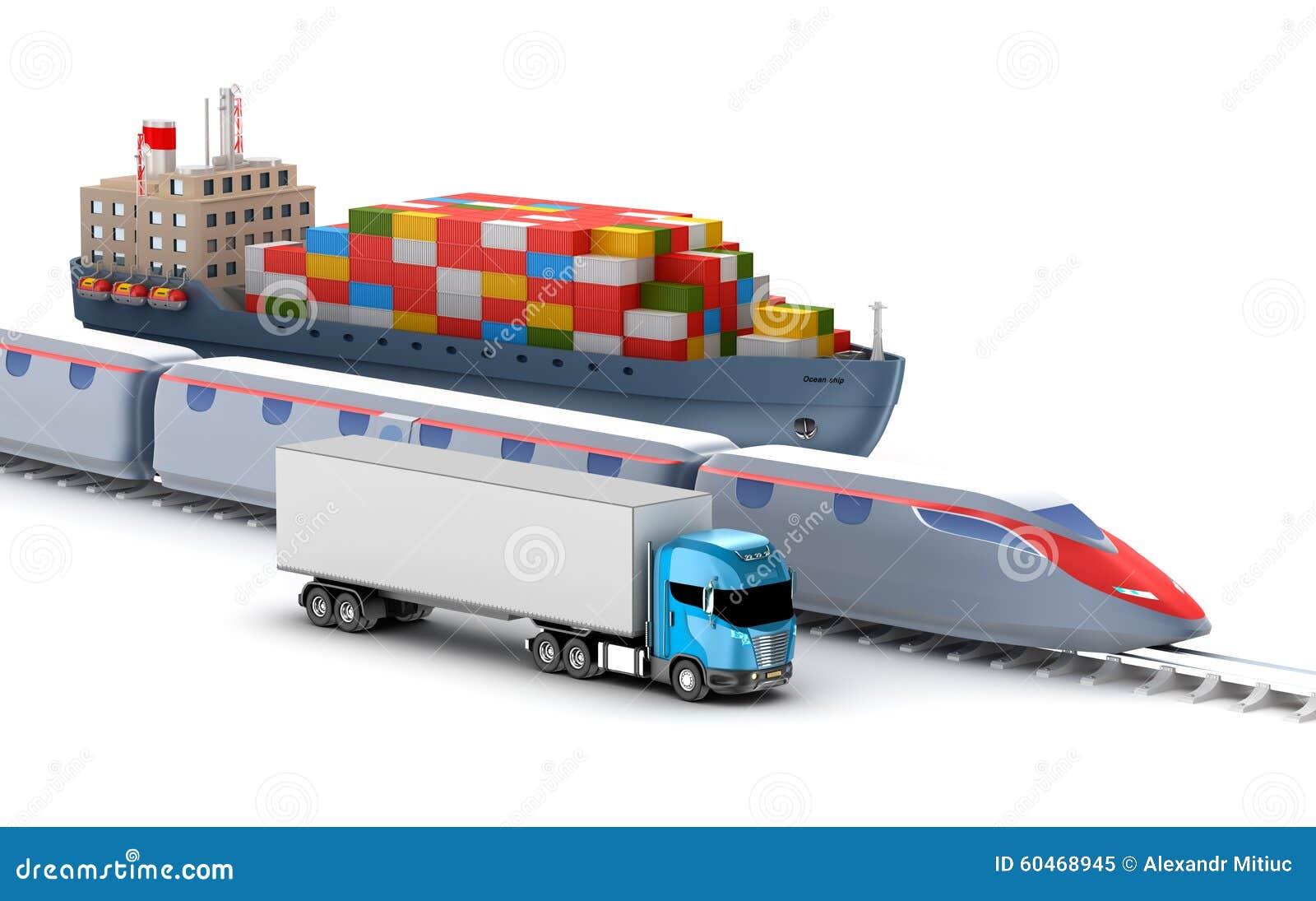 transport de fret par le camion le rail et bateau illustration stock image 60468945. Black Bedroom Furniture Sets. Home Design Ideas