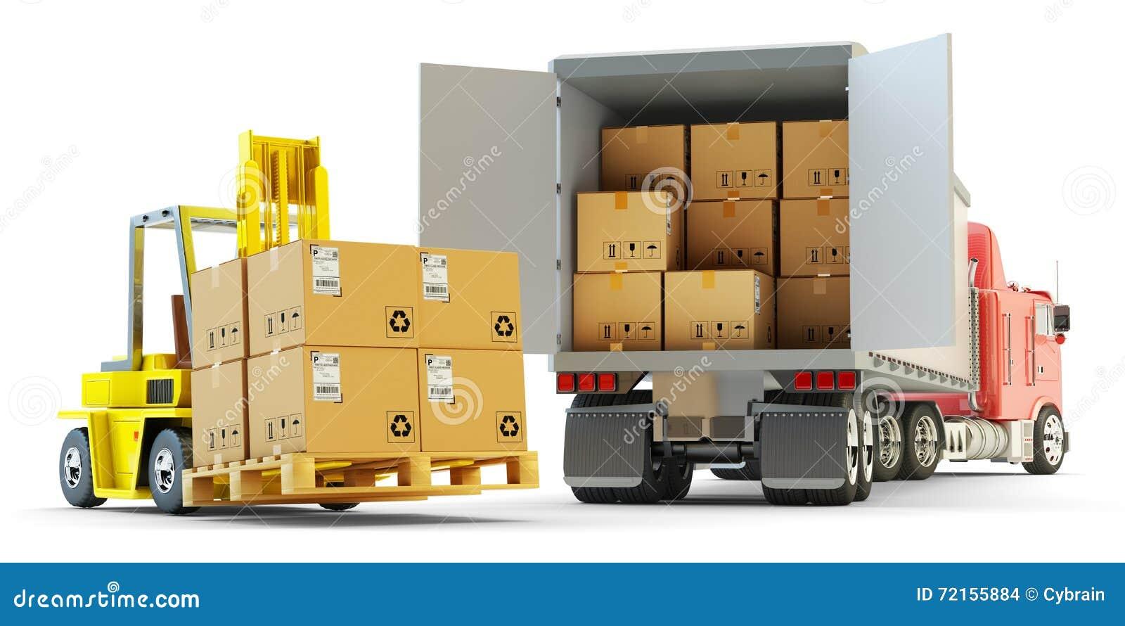 transport de marchandises exp dition de paquets et concept de logistique d 39 entrep t. Black Bedroom Furniture Sets. Home Design Ideas