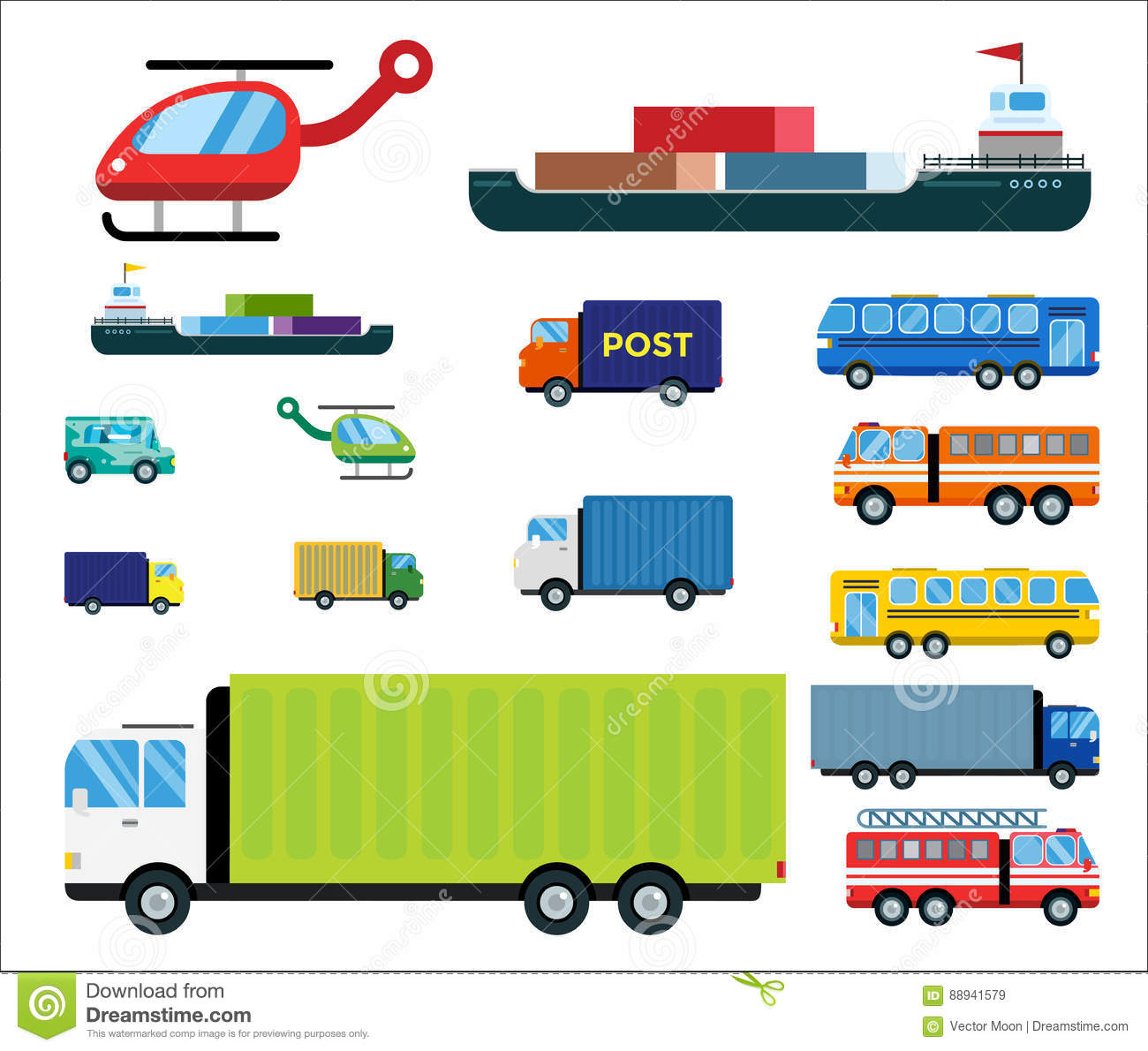 Transport delivery vector isolated white transportation car bus van fire truck helicopter ship silhouette icon tanker