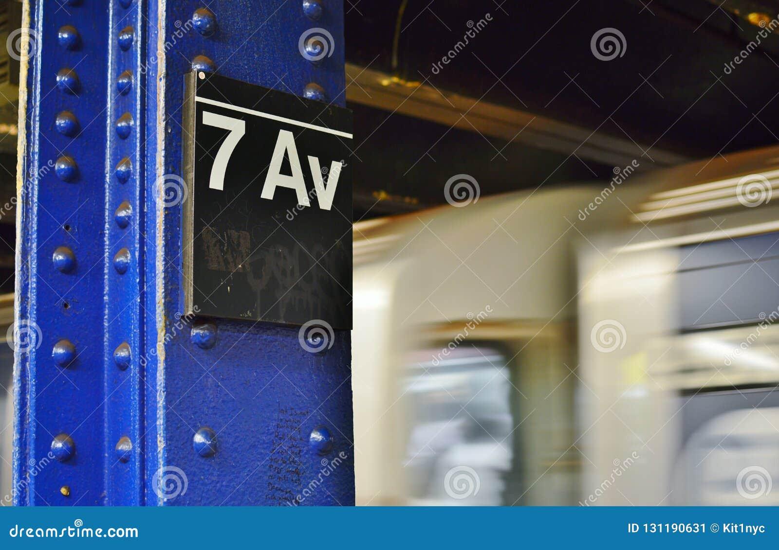 Transport för 7th för aveny för New York City gångtunneltecken snabb plattform för MTA