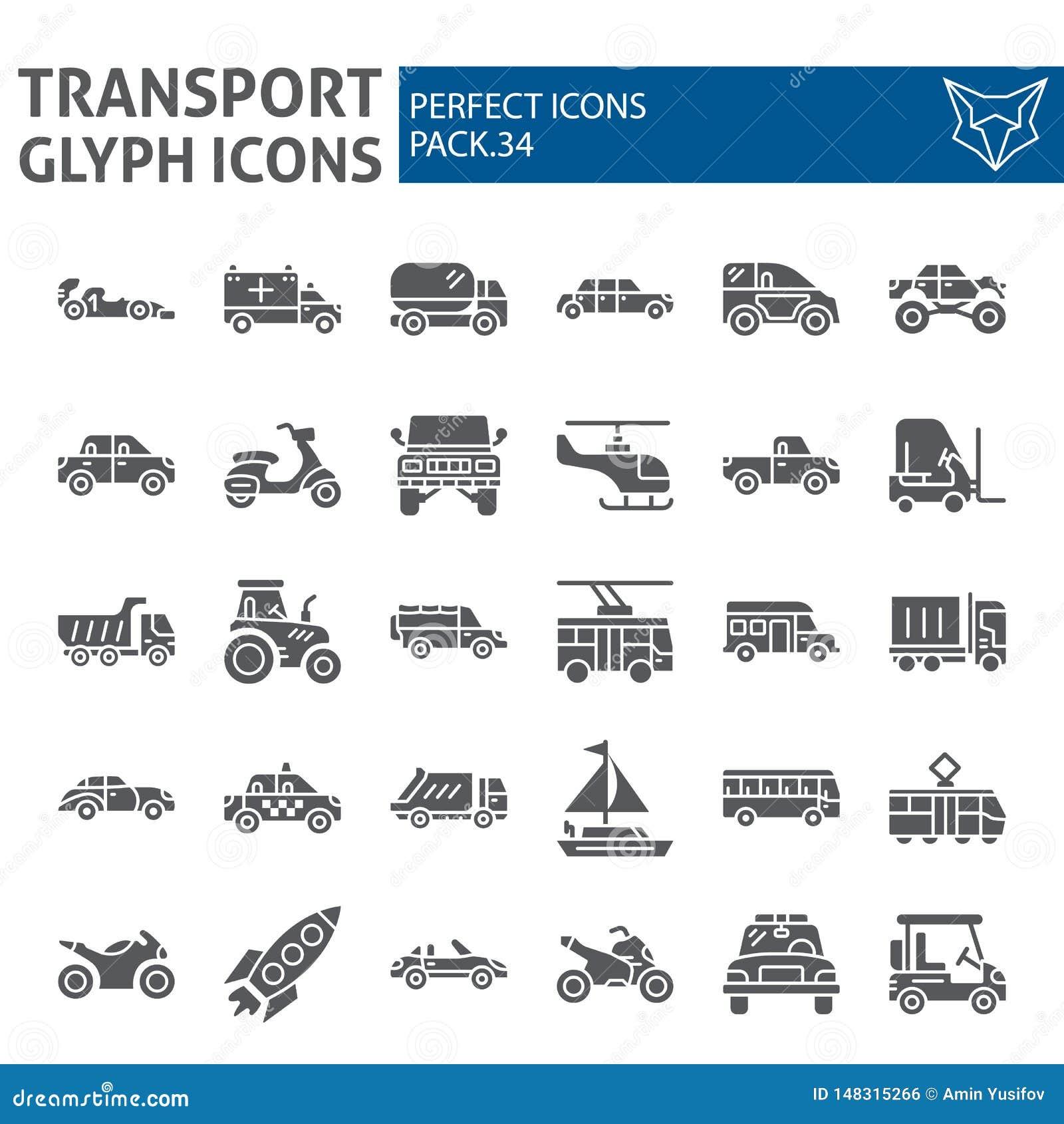 Transport Glyph-Ikonensatz, Fahrzeugsymbole Sammlung, Vektorskizzen, Logoillustrationen, Verkehrsschilderkörper