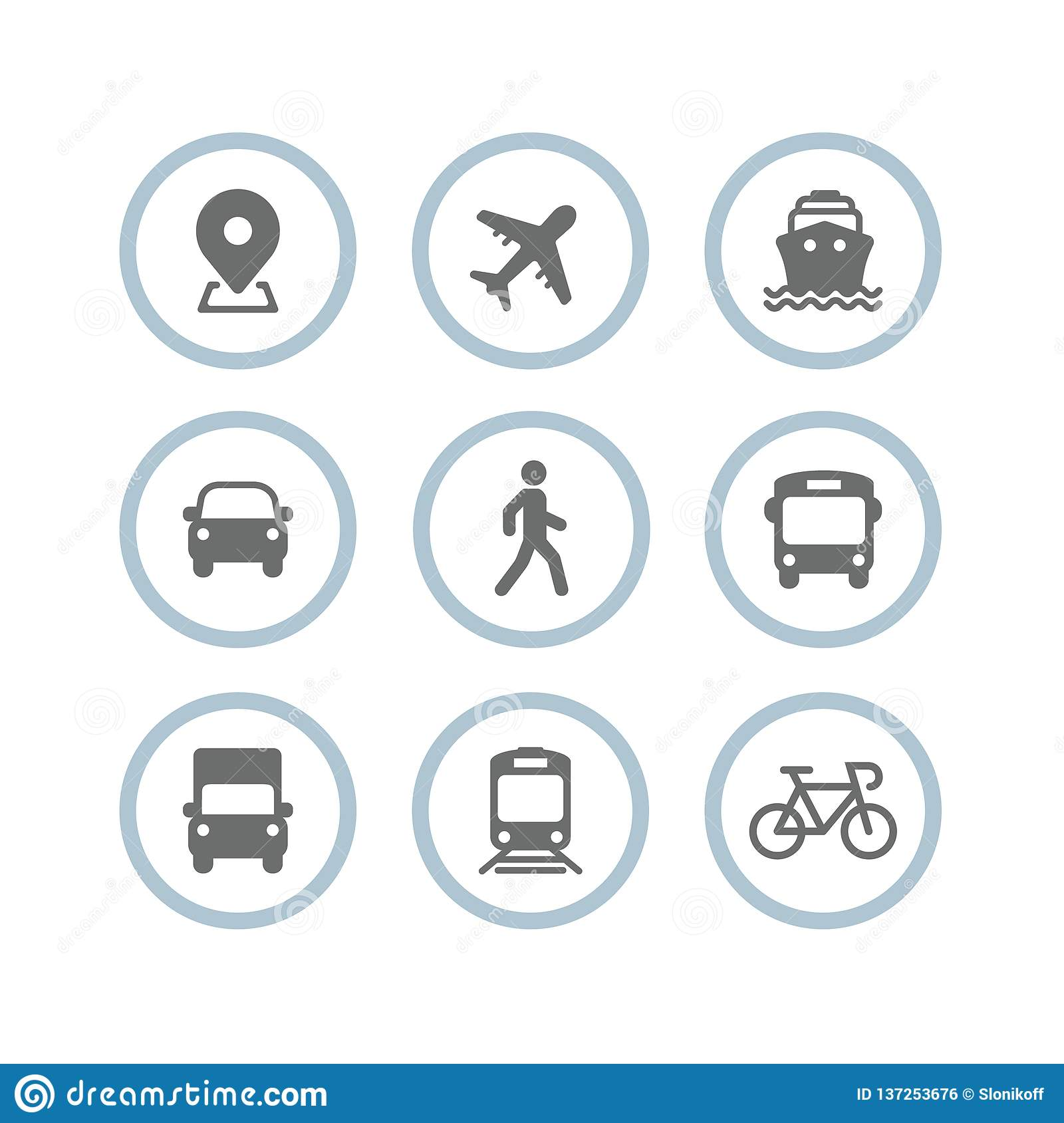 Transport icons. Airplane, Public bus, Train, Ship/Ferry, Car, walk man, bike, truck and auto signs. Shipping delivery symbol. Air
