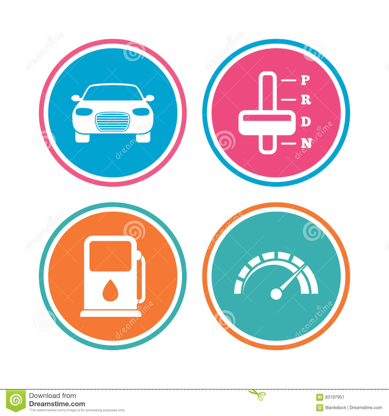 Transport Icons Tachometer And Petrol Station Stock Vector
