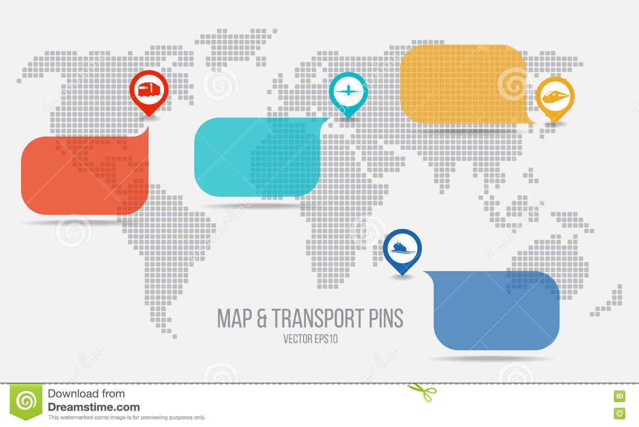 Pin Location Map Free Vector Graphic On Pixabay: Transport Pins And Text Box And Map Vector Design Stock